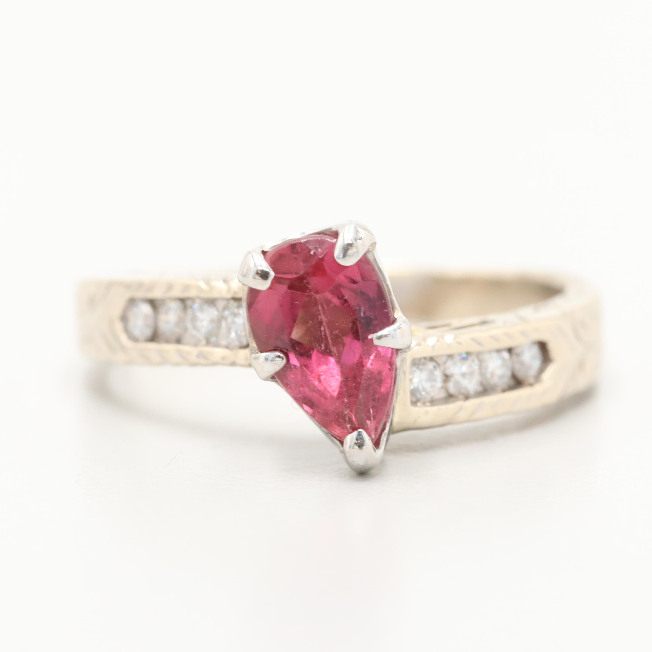 14K Yellow Gold Pink Tourmaline and Diamond Ring with 14K White Gold Accent