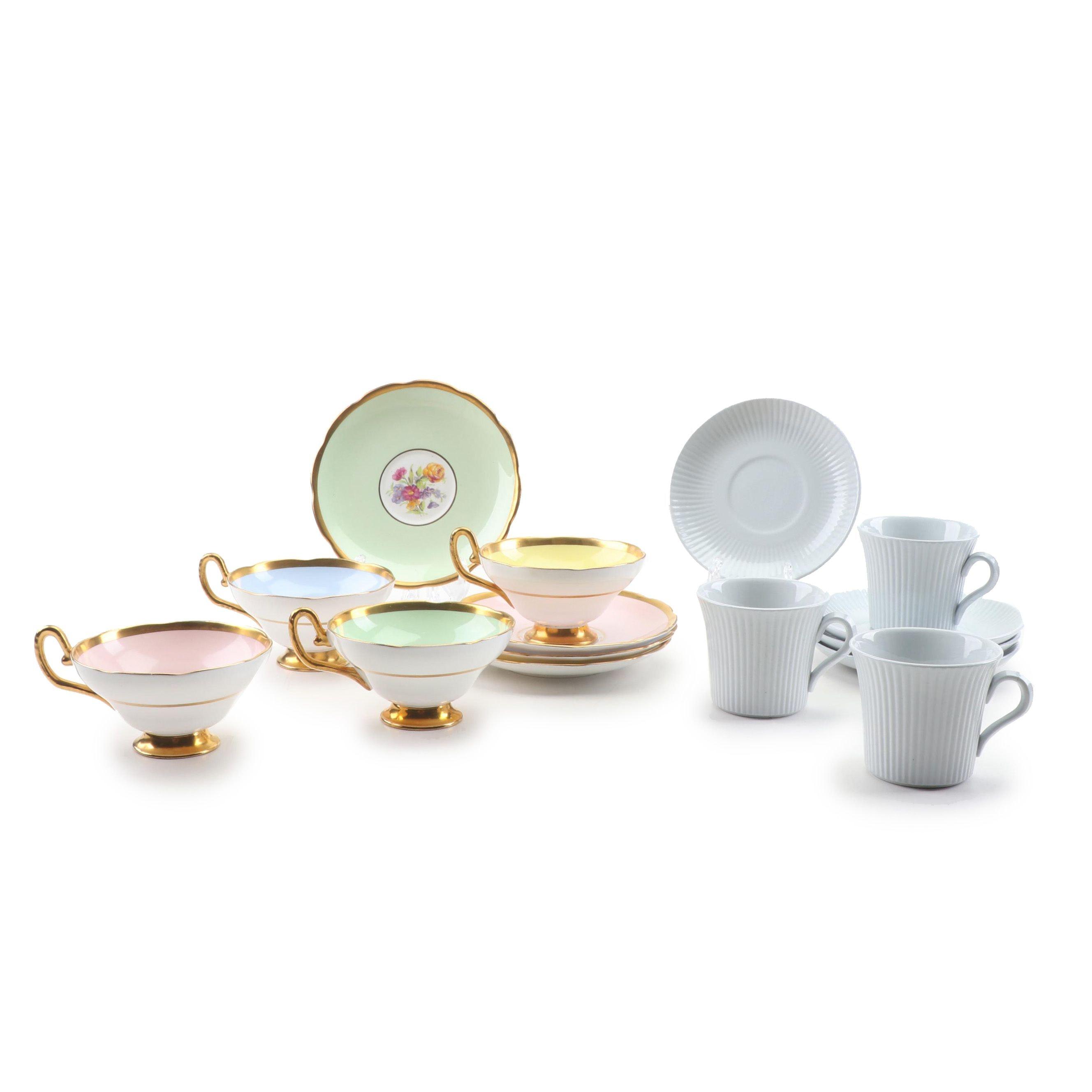 Taylor & Kent Gold Trim Bone China and Ribbed Ceramic Teacups and Saucers
