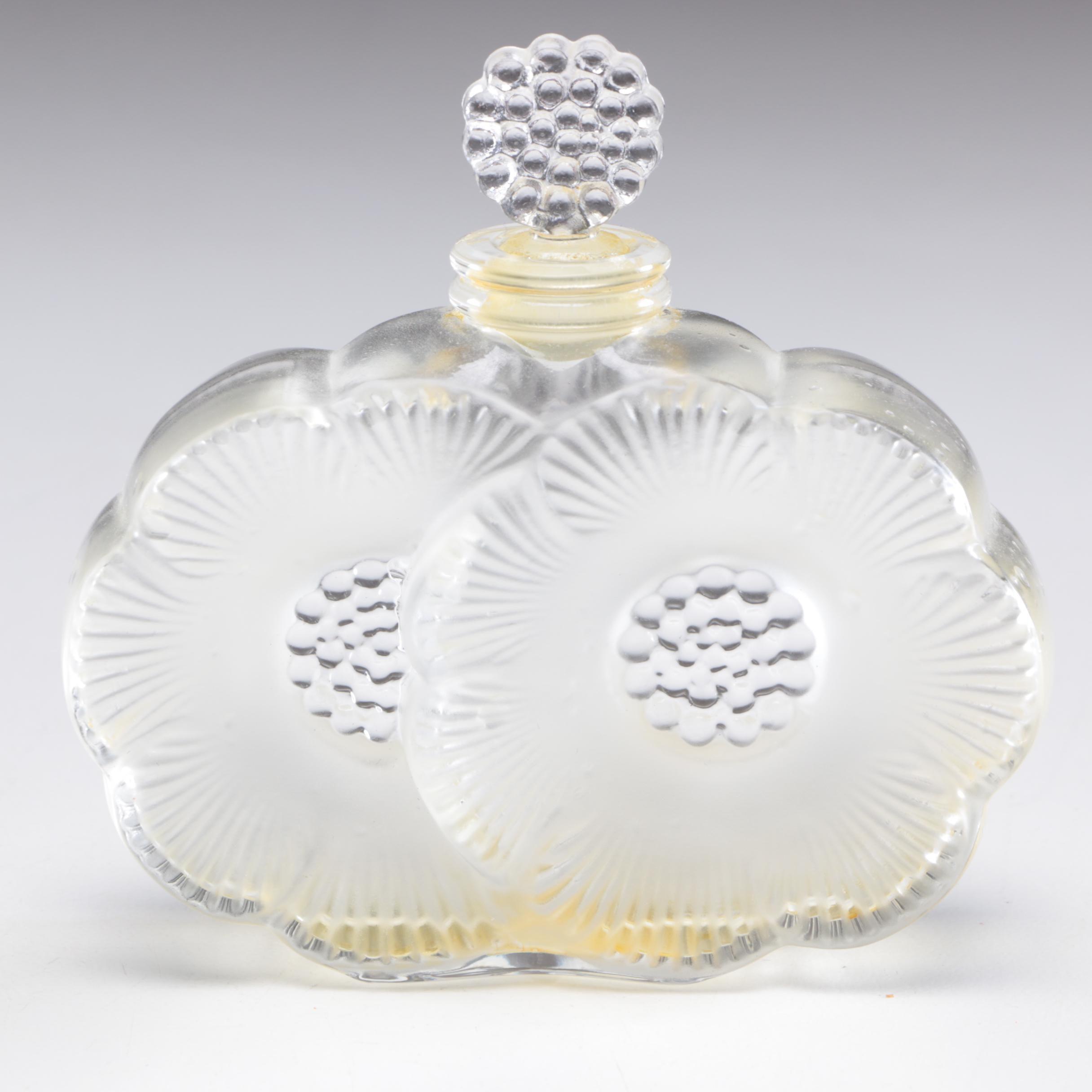 """Lalique France Crystal Art Glass """"Deux Fleurs"""" Perfume Bottle"""
