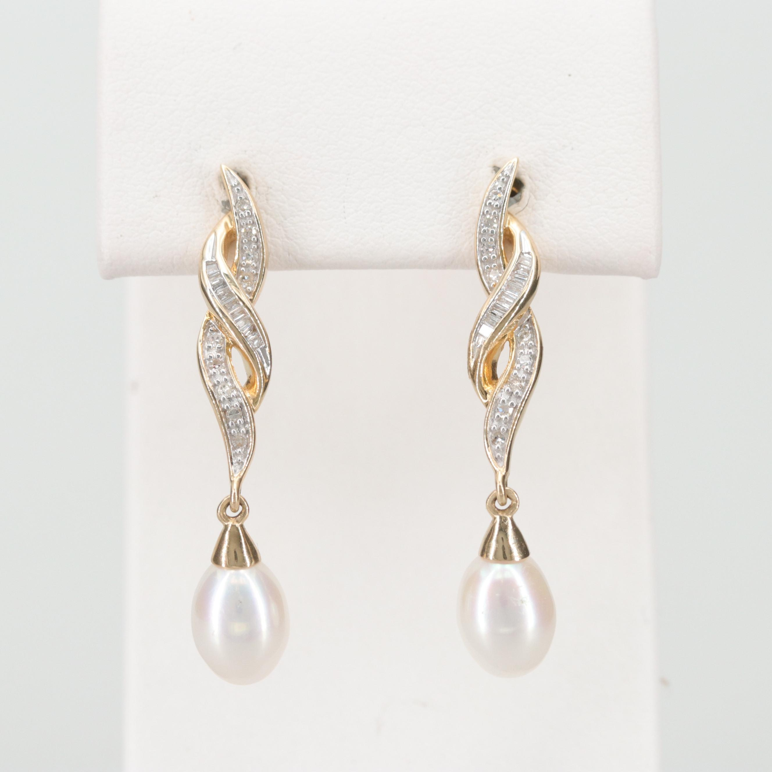 14K Yellow Gold Cultured Pearl and Diamond Dangle Earrings