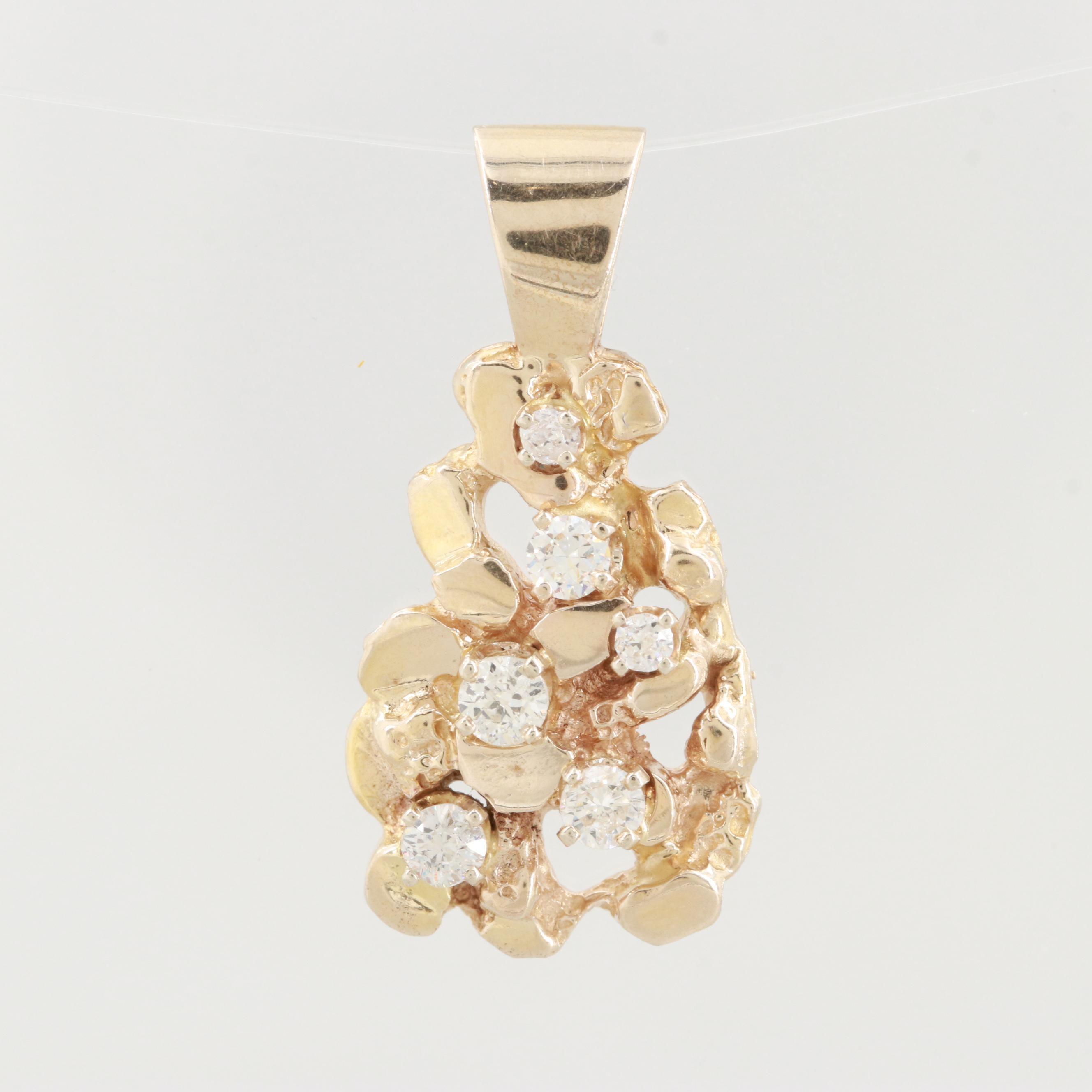 14K Yellow Gold Diamond Nugget Style Pendant