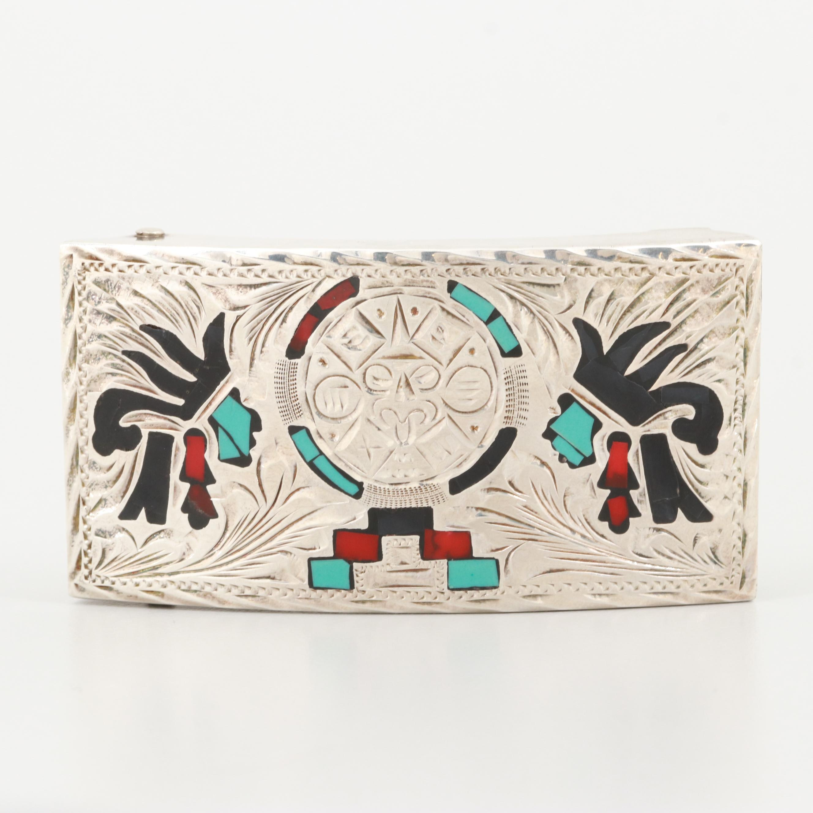 Mexican Sterling Silver Imitation Gemstone Inlaid Belt Buckle, Vintage