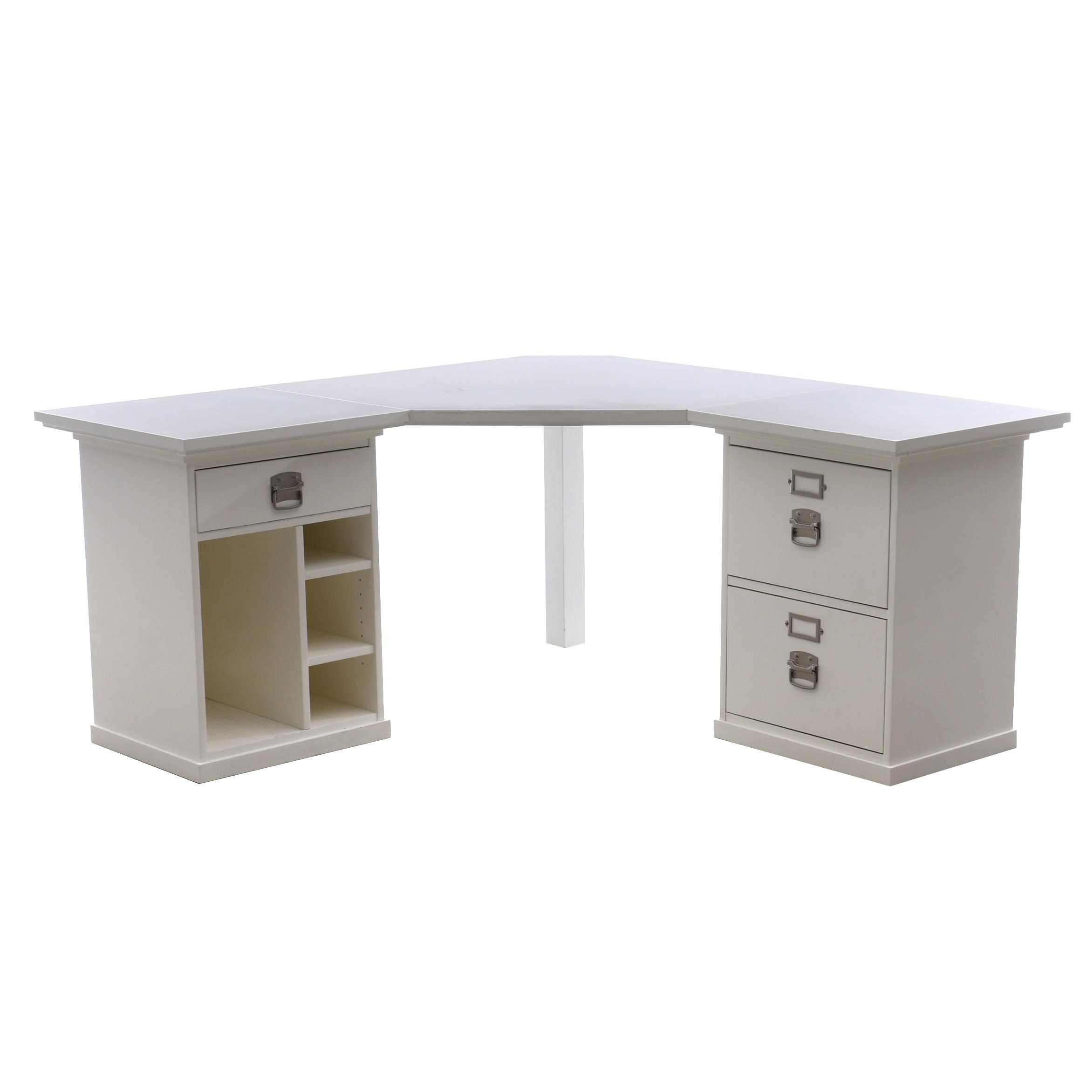 White Laminate Corner Desk