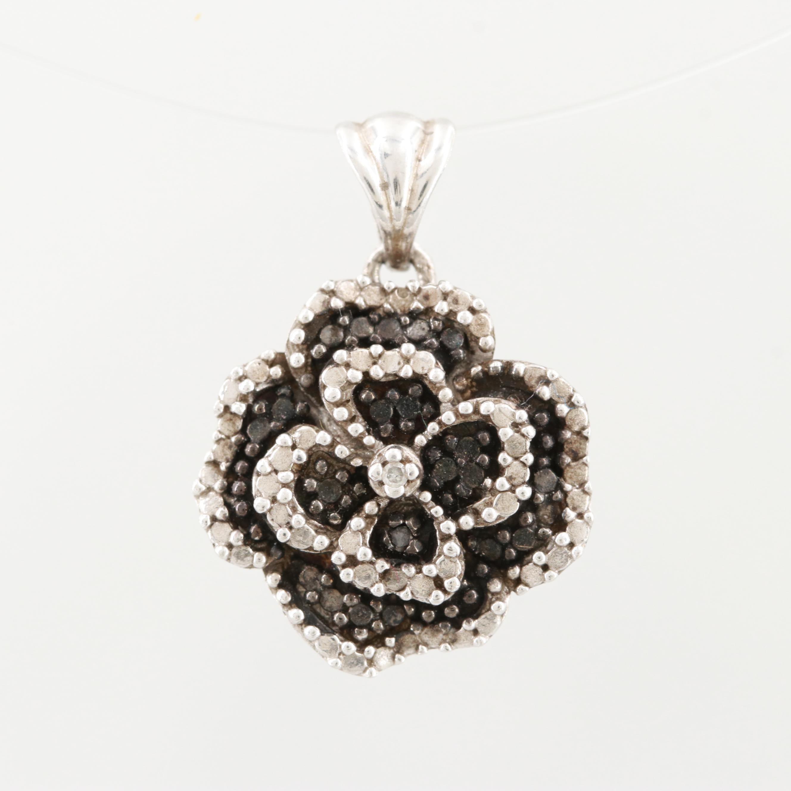 Sterling Silver Pendant Featuring Black Diamonds