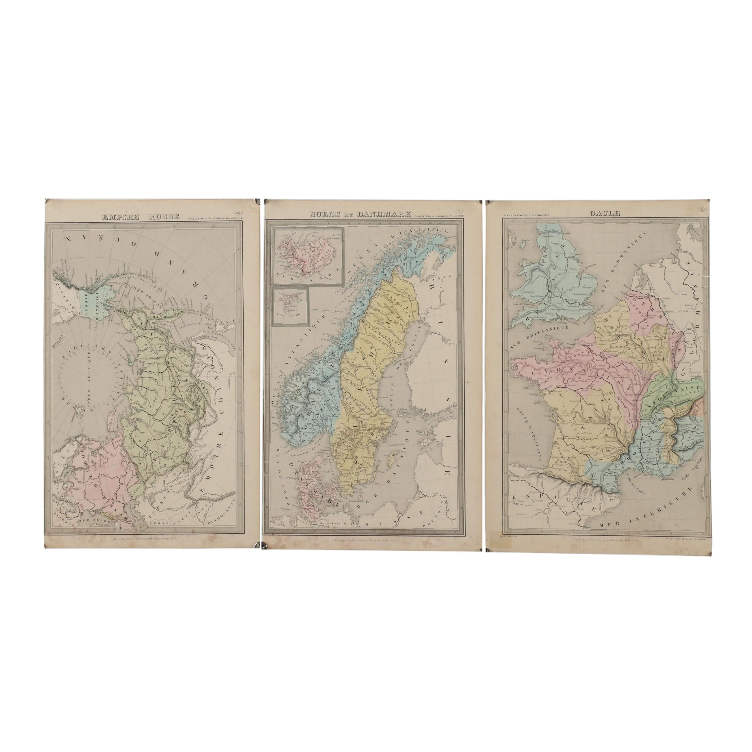 Eugène Andriveau-Goujon Hand-Colored Lithographic Maps
