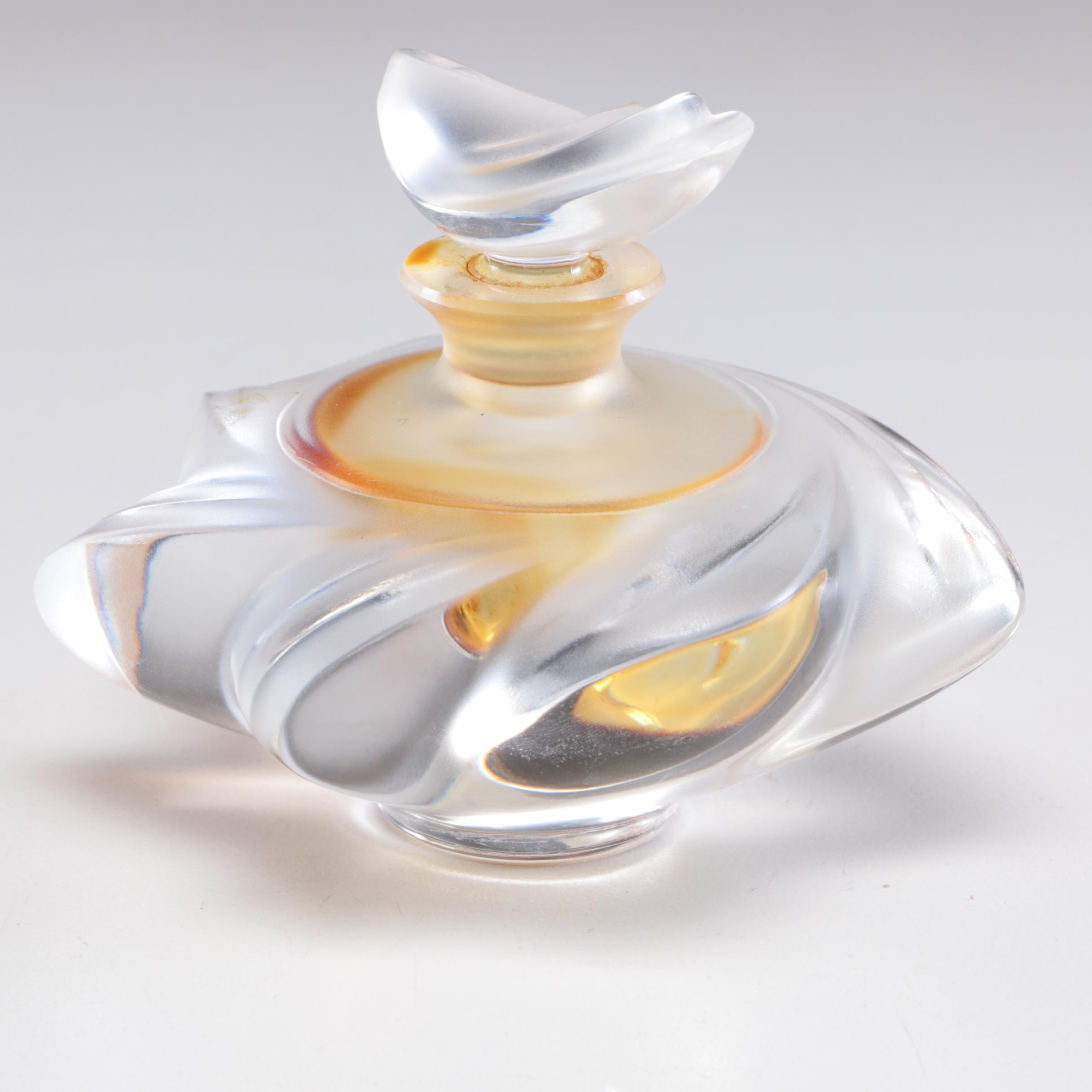 "Lalique France Crystal Art Glass ""Samoa Frosted"" Perfume Bottle"