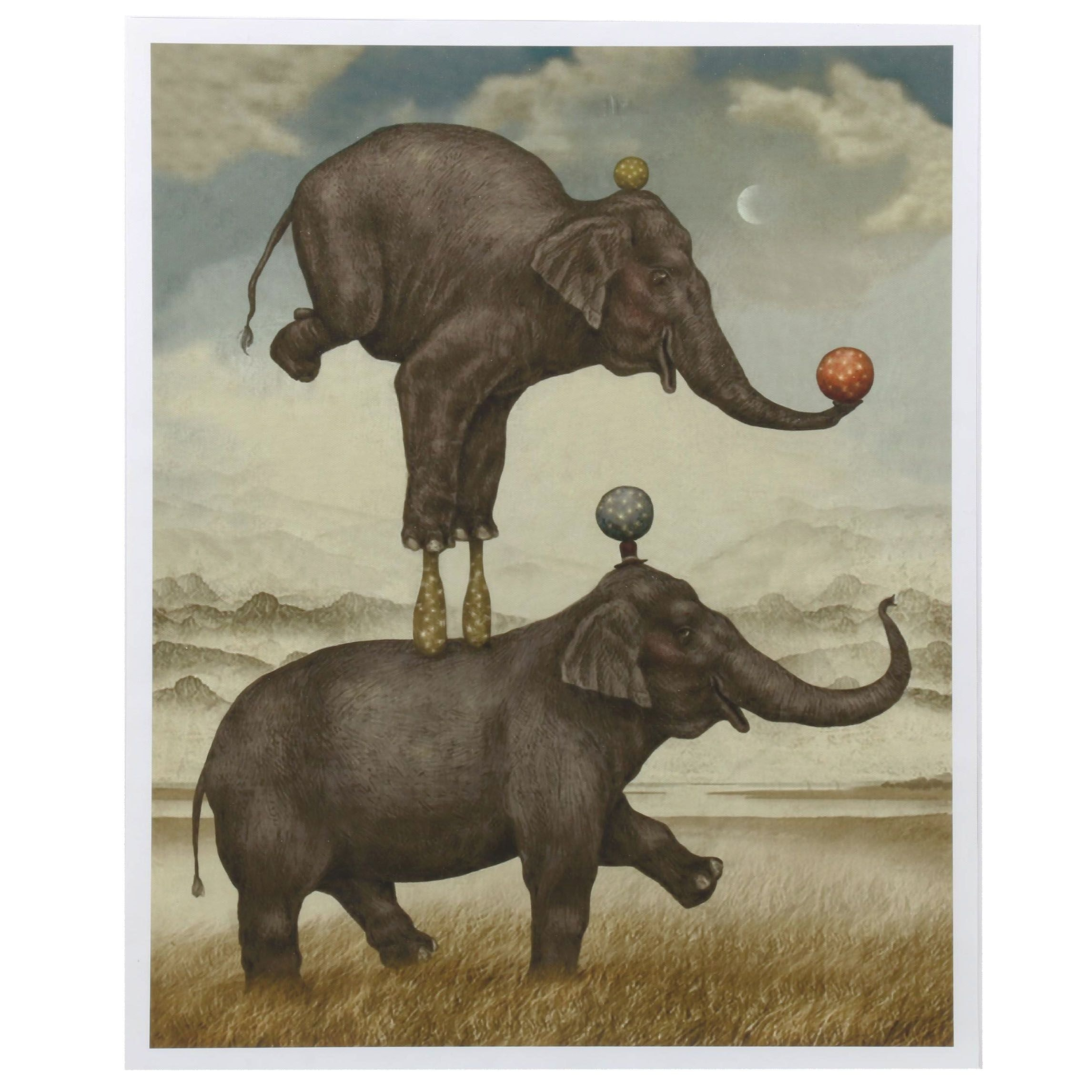 "Giclee Print after Julian de Narvaez ""Balancing Elephants"""