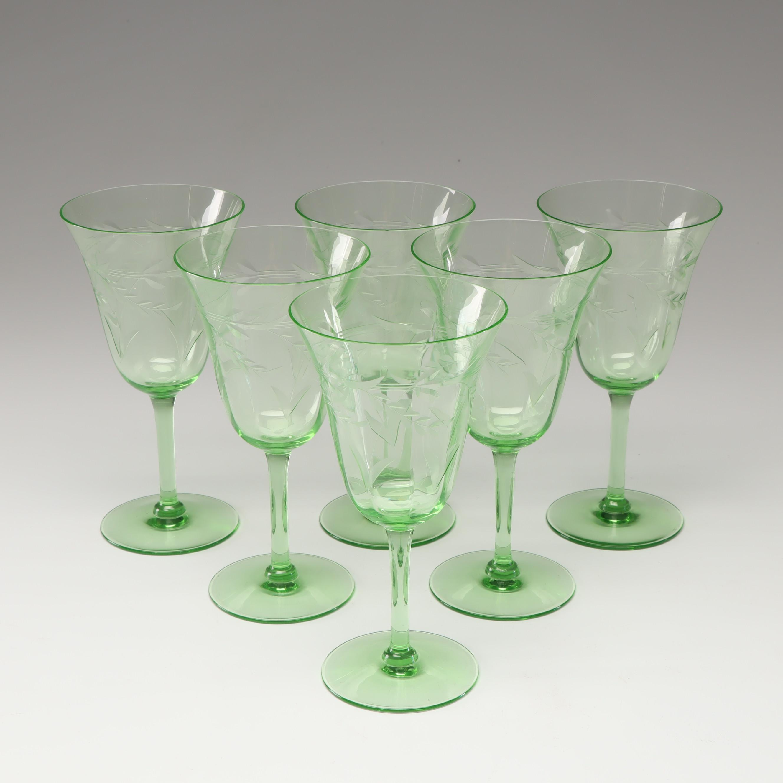 Etched Green Depression Glass Stemware, Set of Six