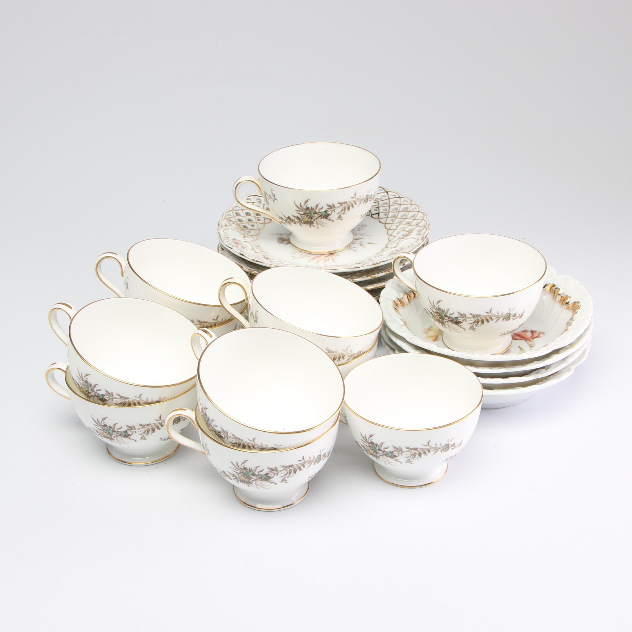Dresden and Minton Porcelain Dinnerware, Mid-Century