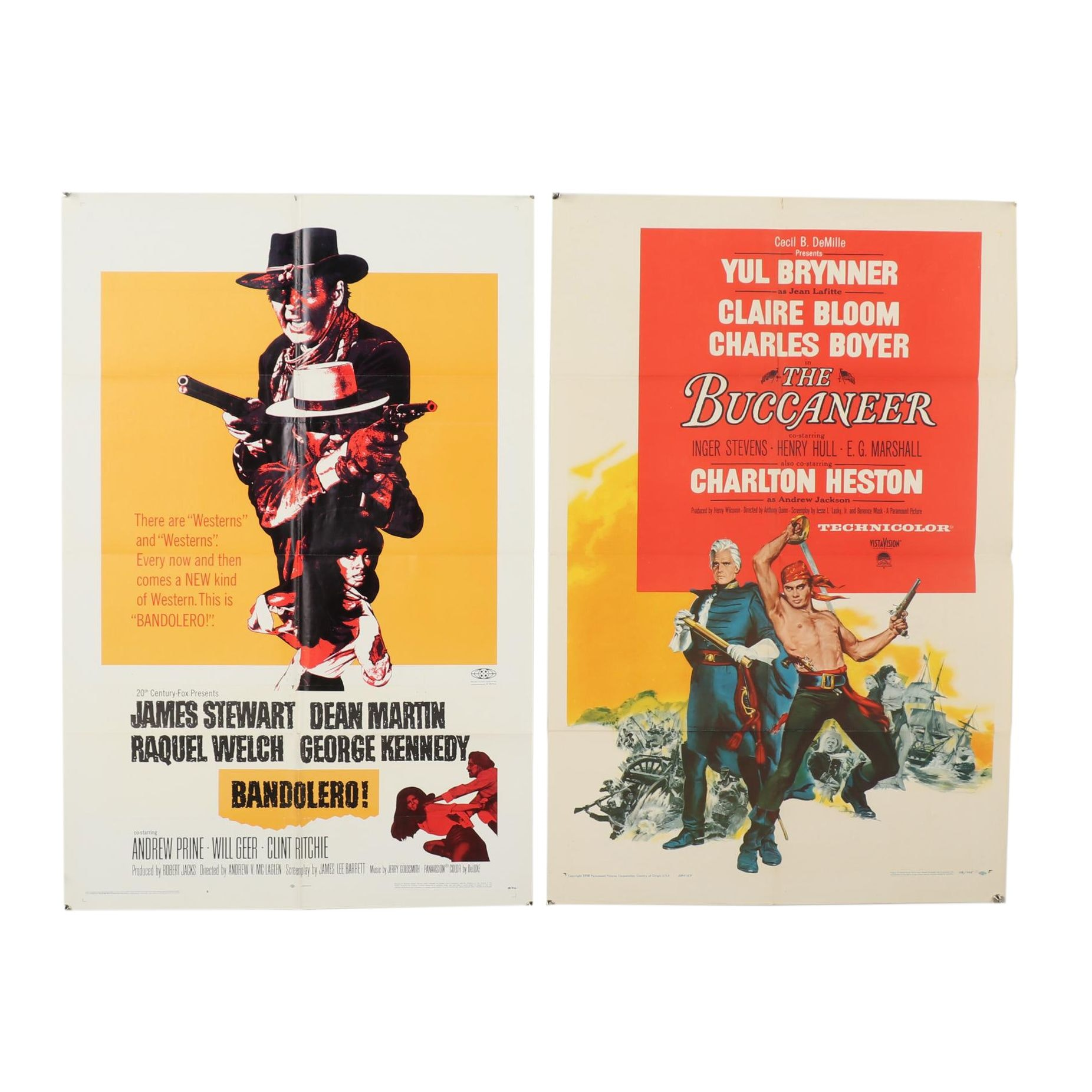 "1958-1968 Movies Posters for ""The Buccaneer"" and ""Bandolero!"""