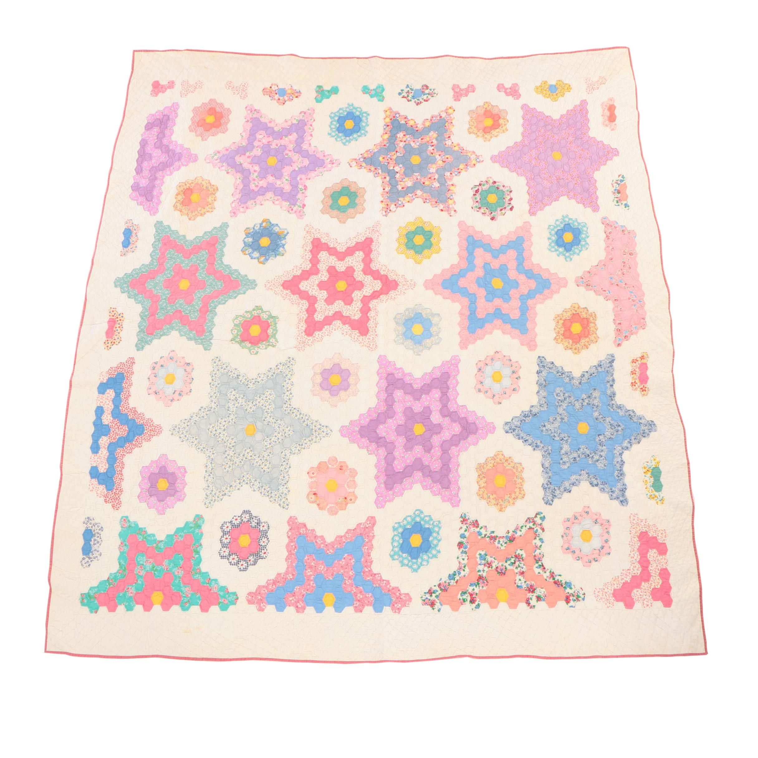 Hand Stitched Honeycomb Pattern Quilt