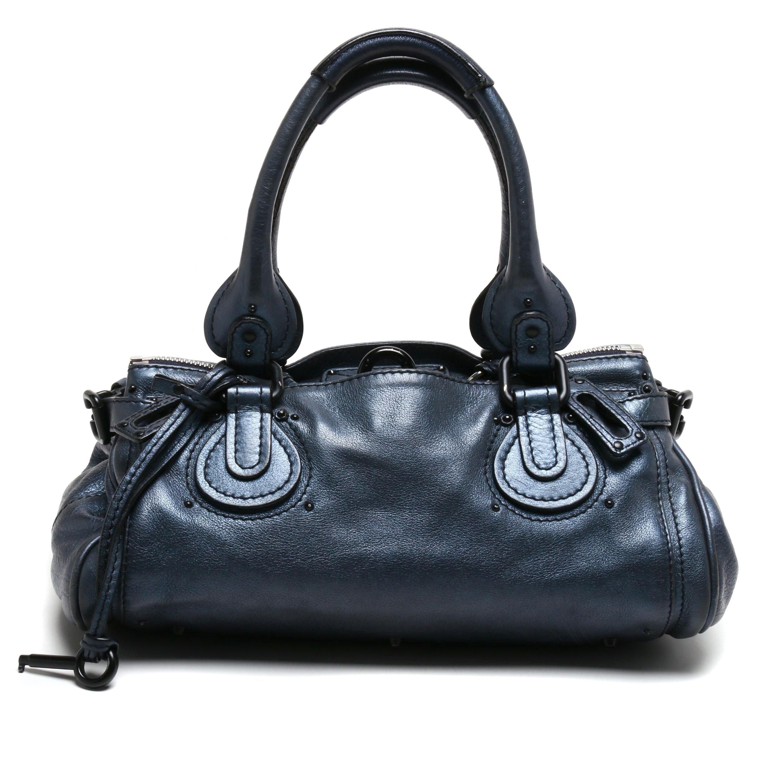 Chloé Metallic Blue Leather Paddington Satchel
