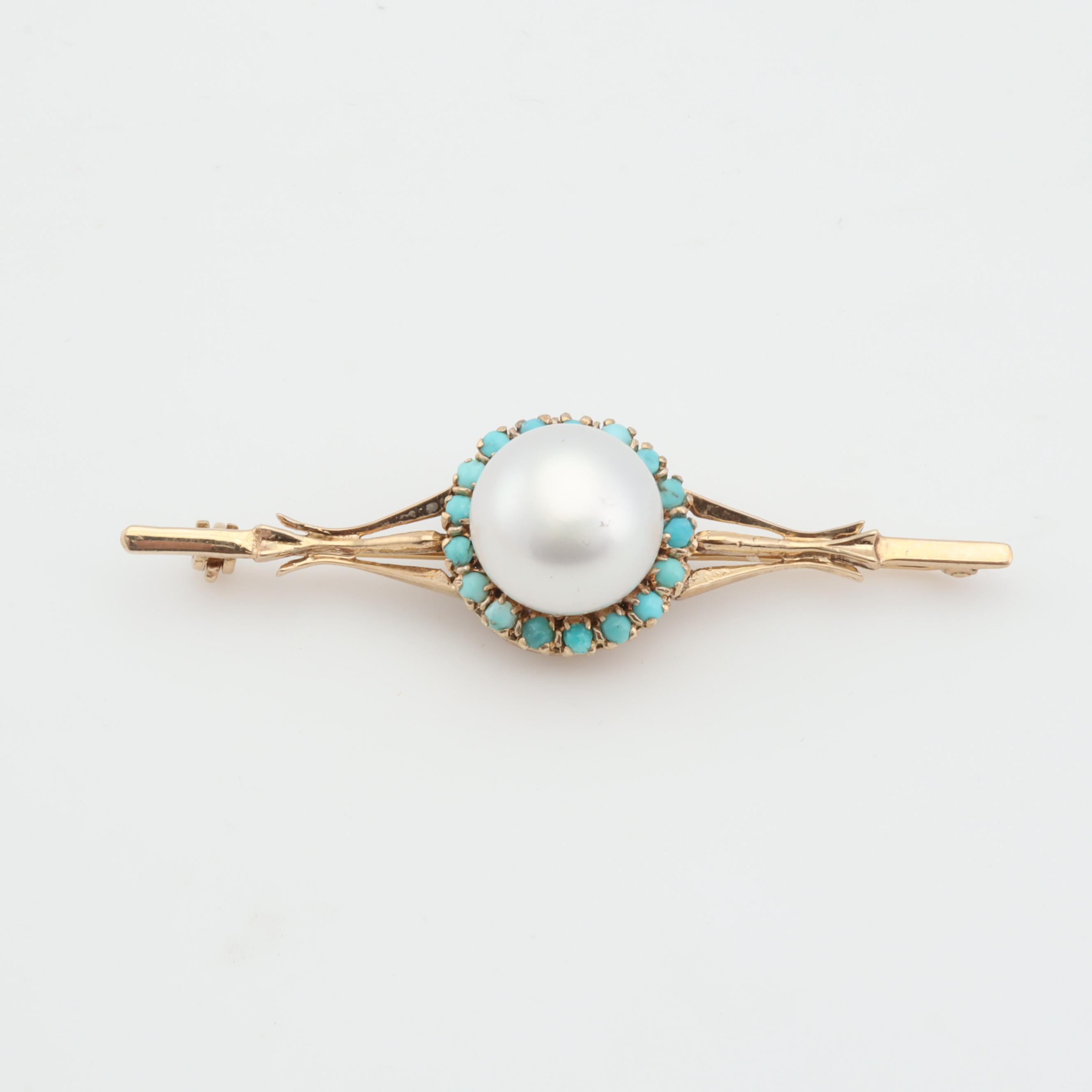 14K Yellow Gold Cultured Mabe Pearl and Turquoise Pin