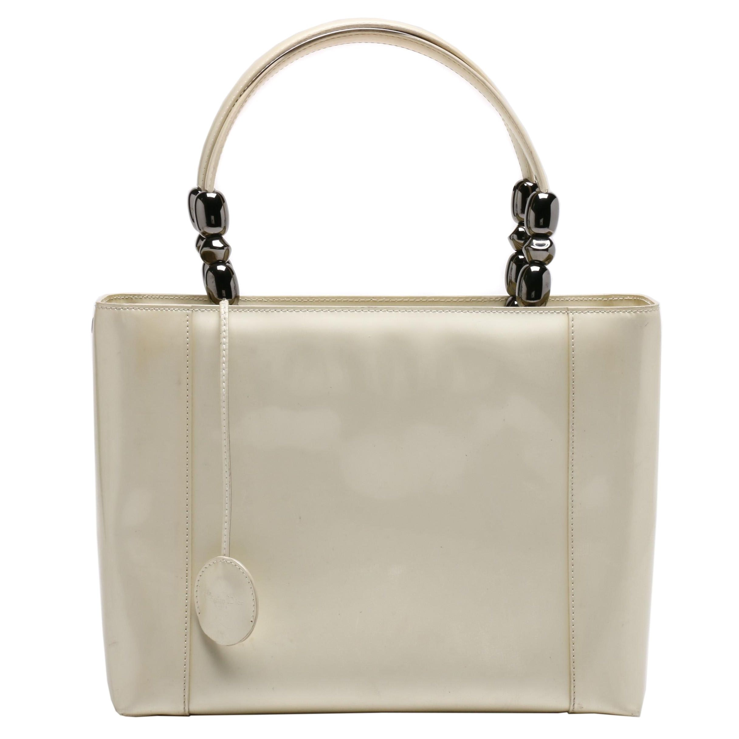 Christian Dior Paris Cream Patent Leather Malice Beaded Handle Tote Bag