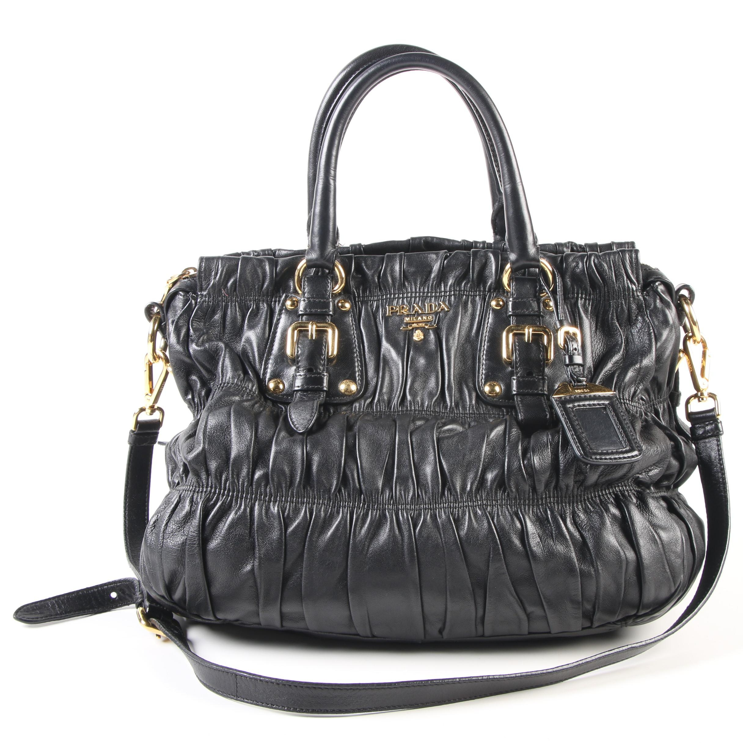 Prada Gaufre Ruched Black Nappa Leather Convertible Tote