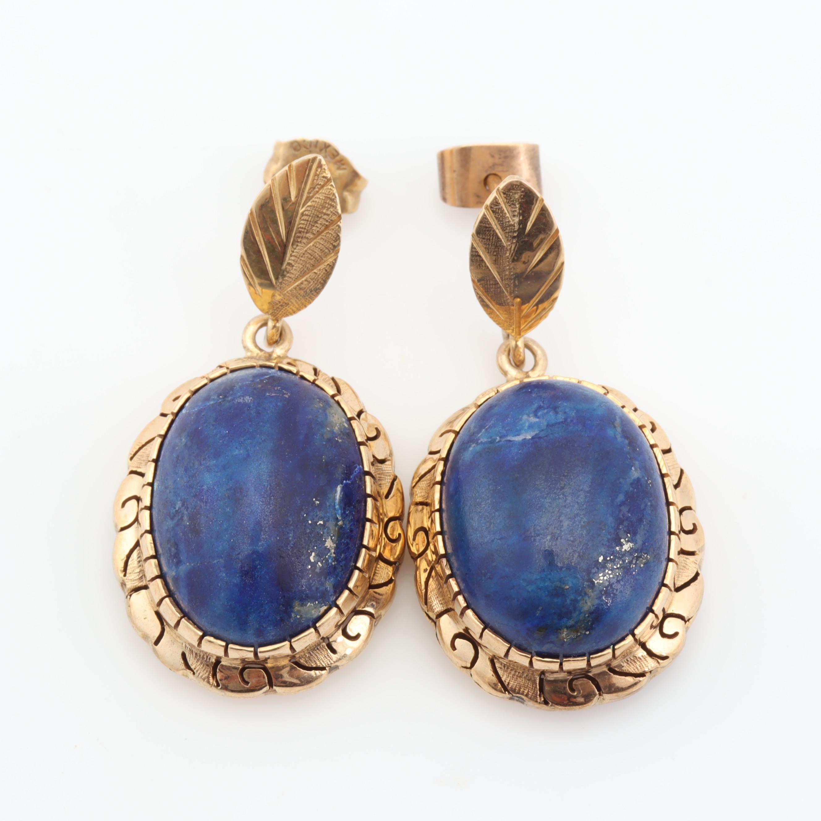14K Yellow Gold Lapis Lazuli Dangle Earrings