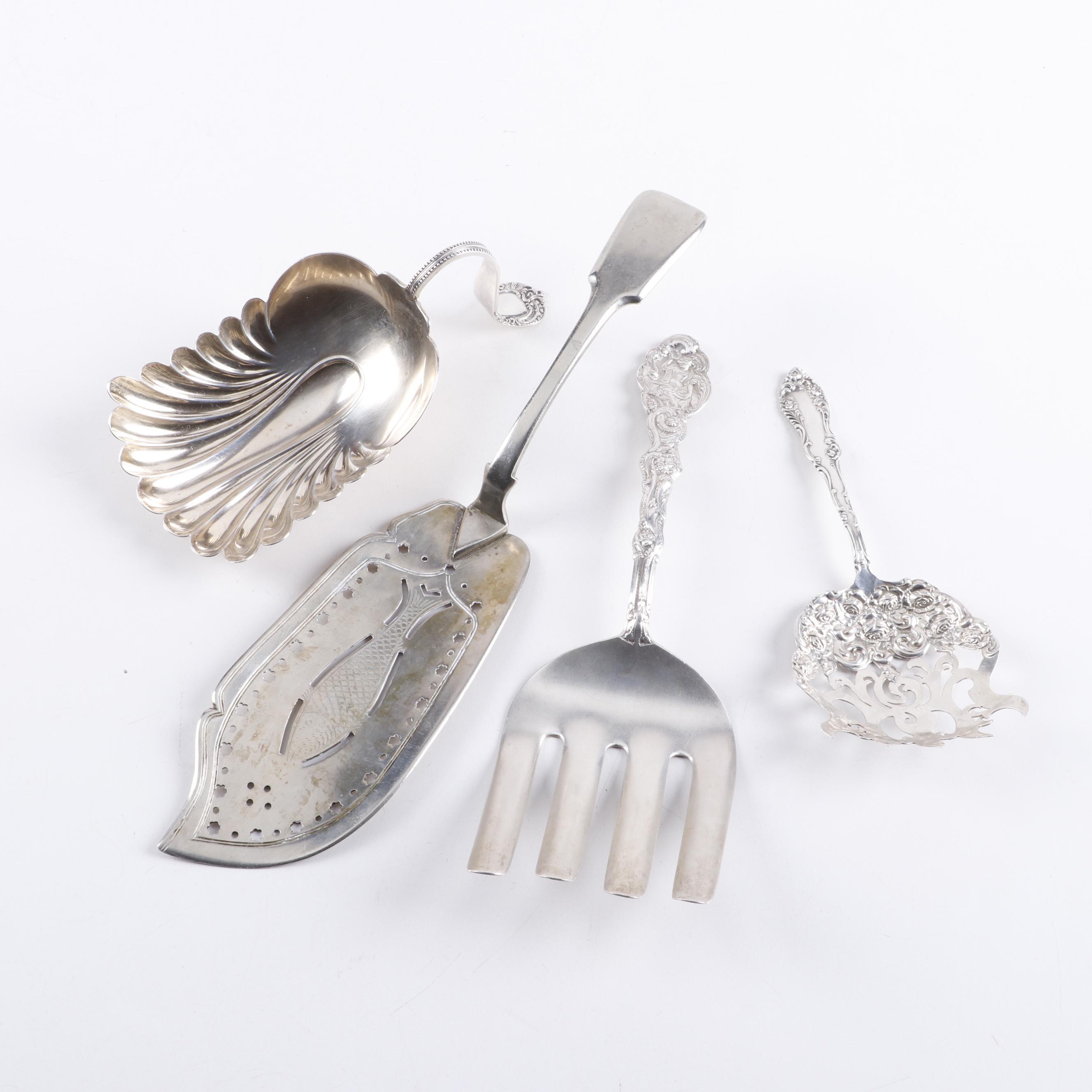 "Sterling Silver Serving Utensils including Gorham ""Versailles"" Asparagus Tongs"