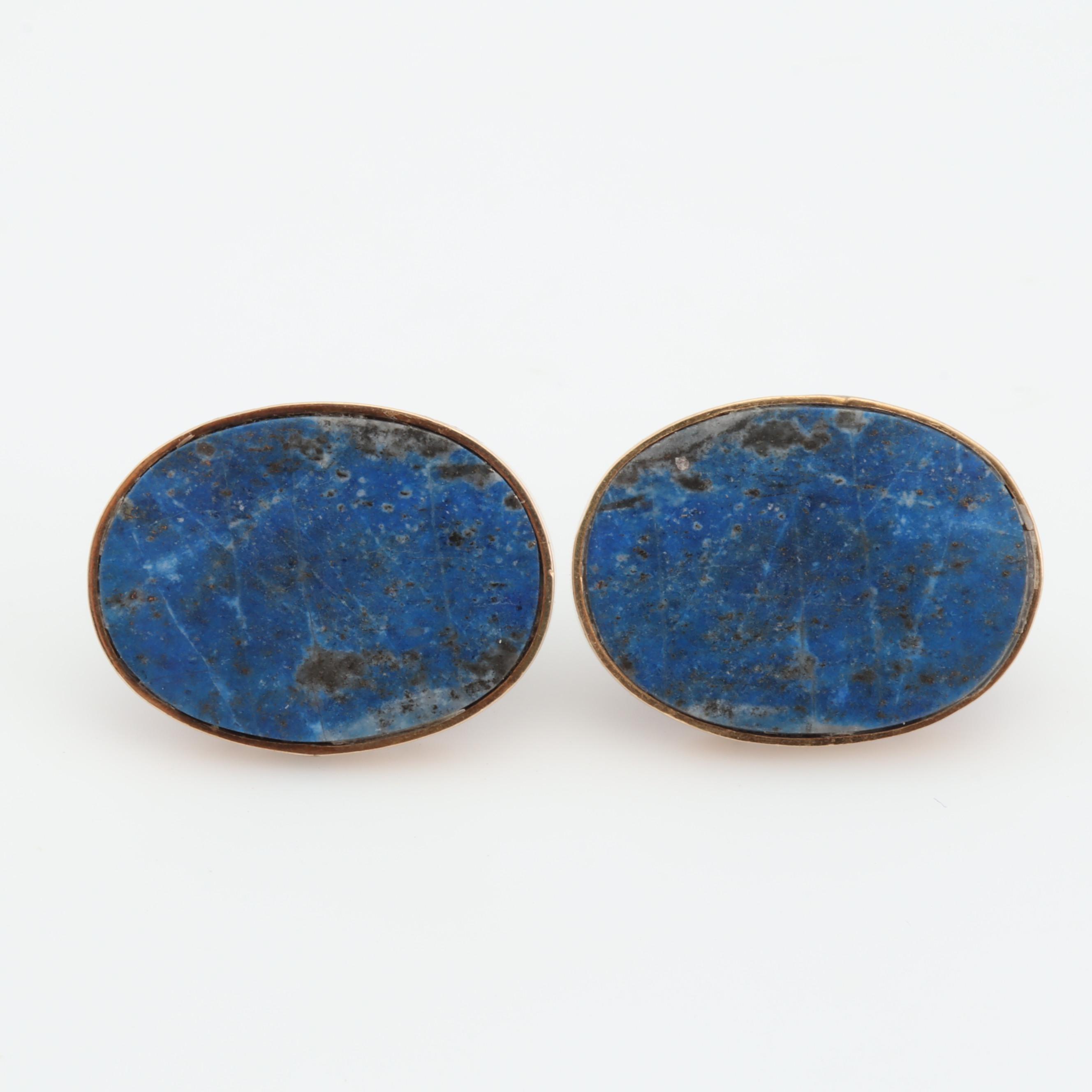 14K Yellow Gold Oval Lapis Lazuli Earrings
