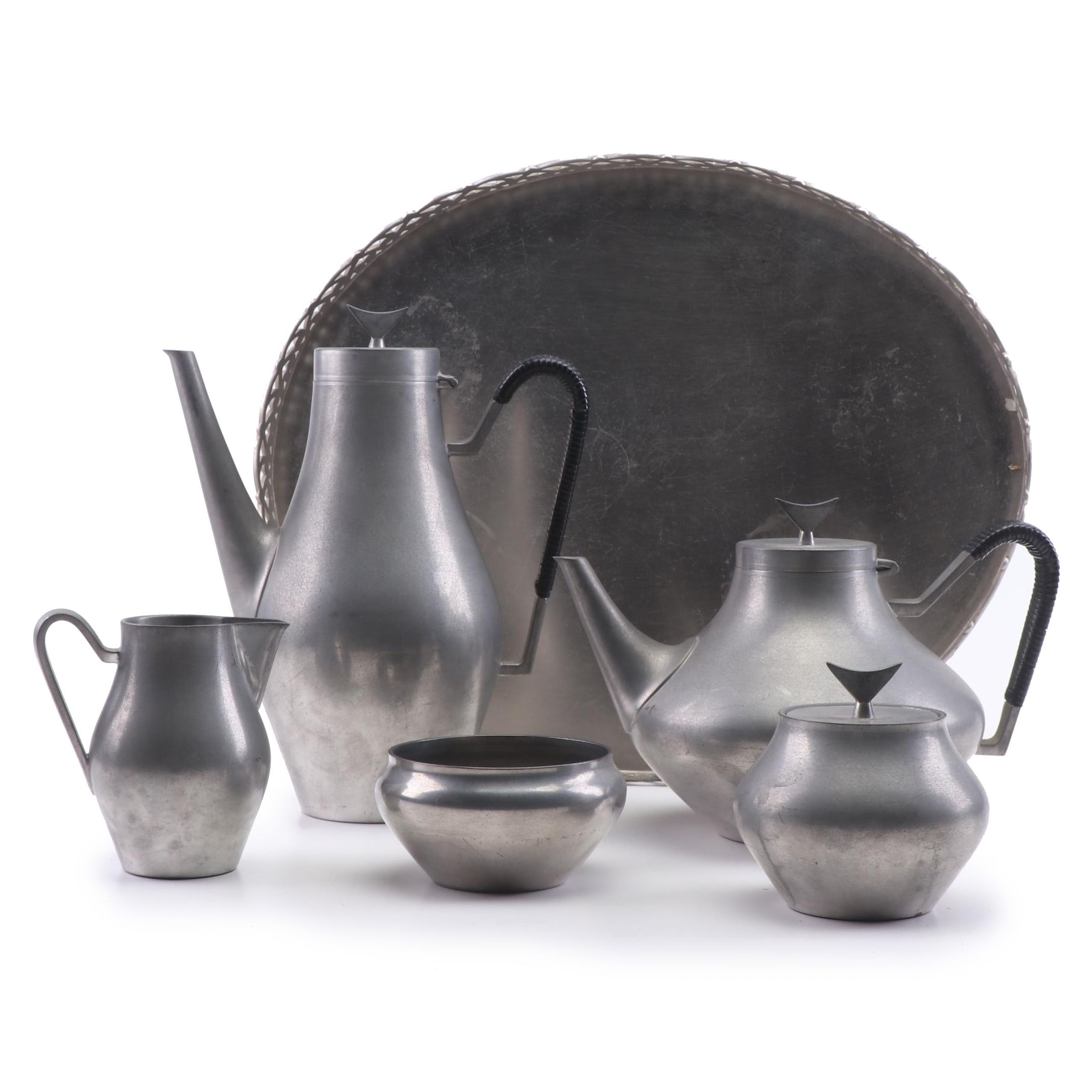 Reed and Barton Pewter Tea and Coffee Set, Mid 20th Century