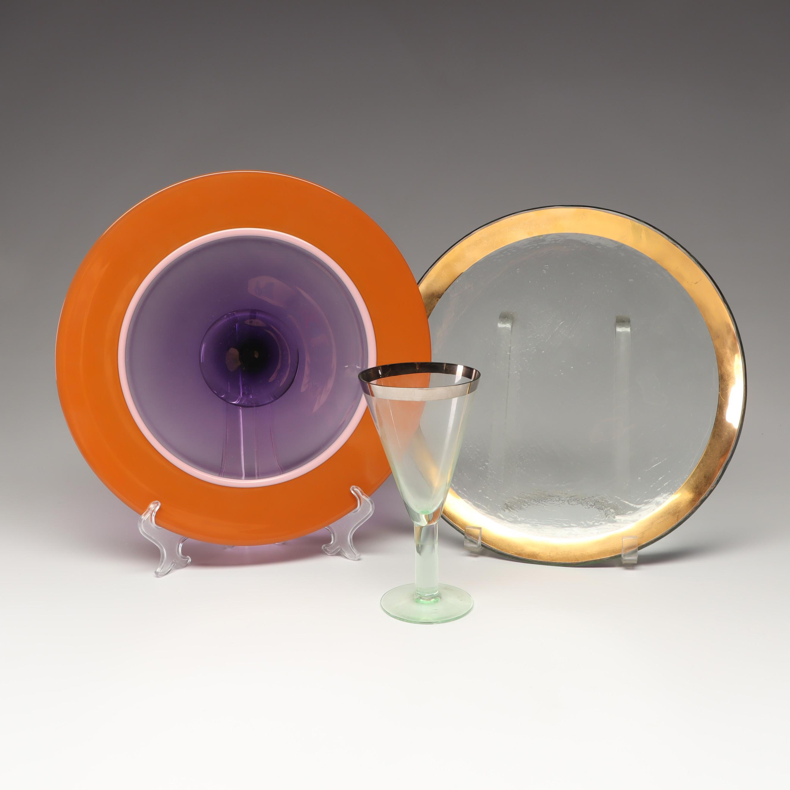 Handmade Glass Plates and Goblet