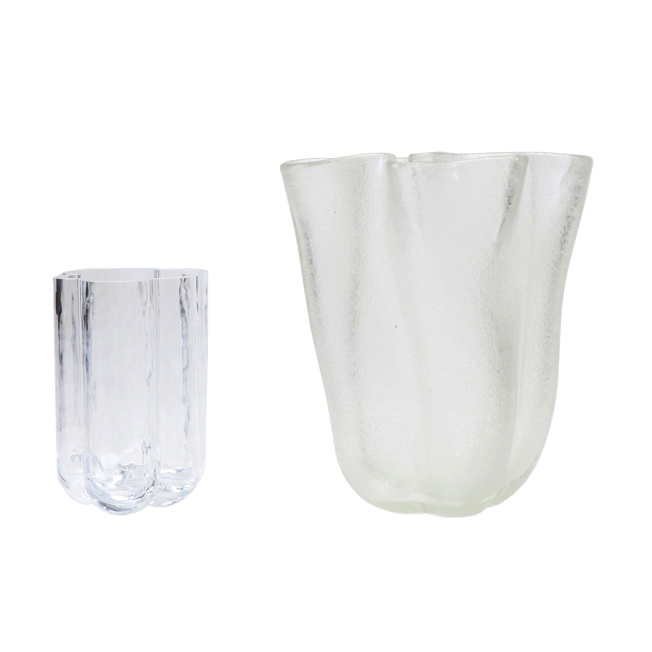 Mid Century Modern Distorted Glass Wavy Vases