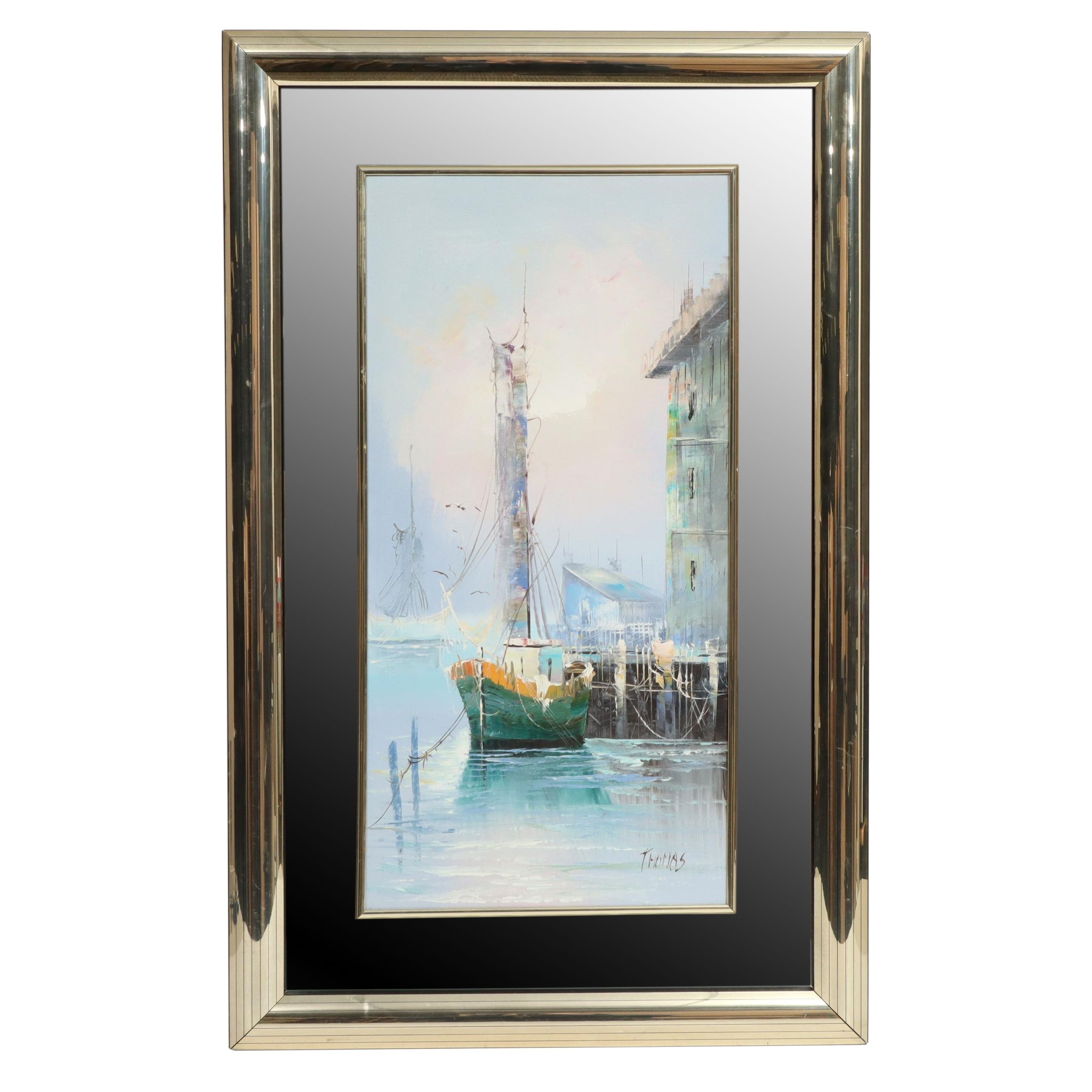Thomas Oil Painting of a Harbor