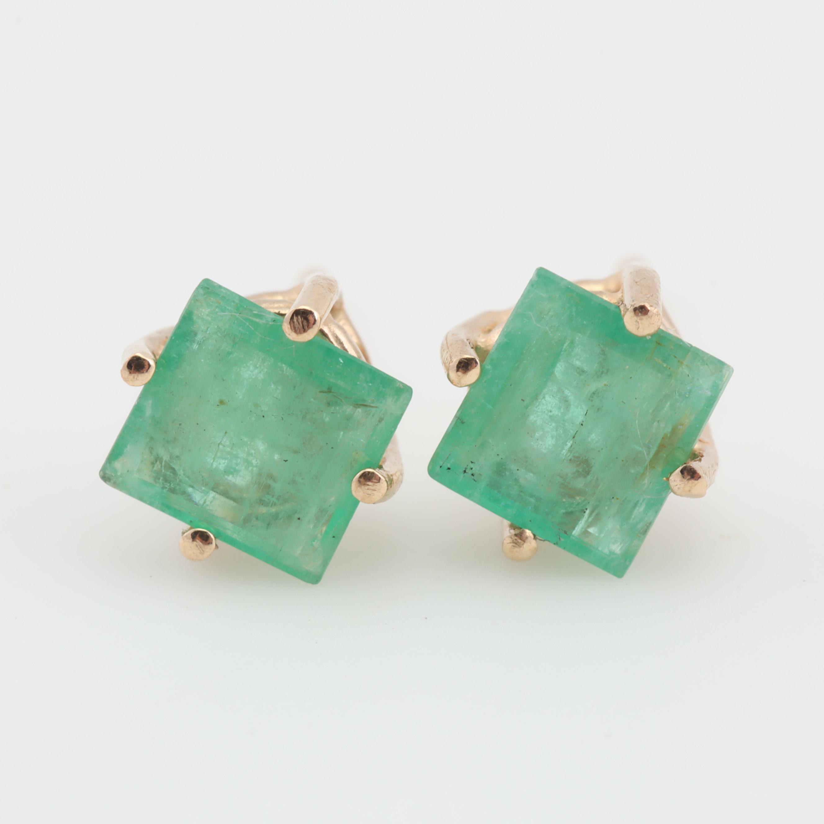 14K Yellow Gold Emerald Stud Earrings, 1.00 CTW