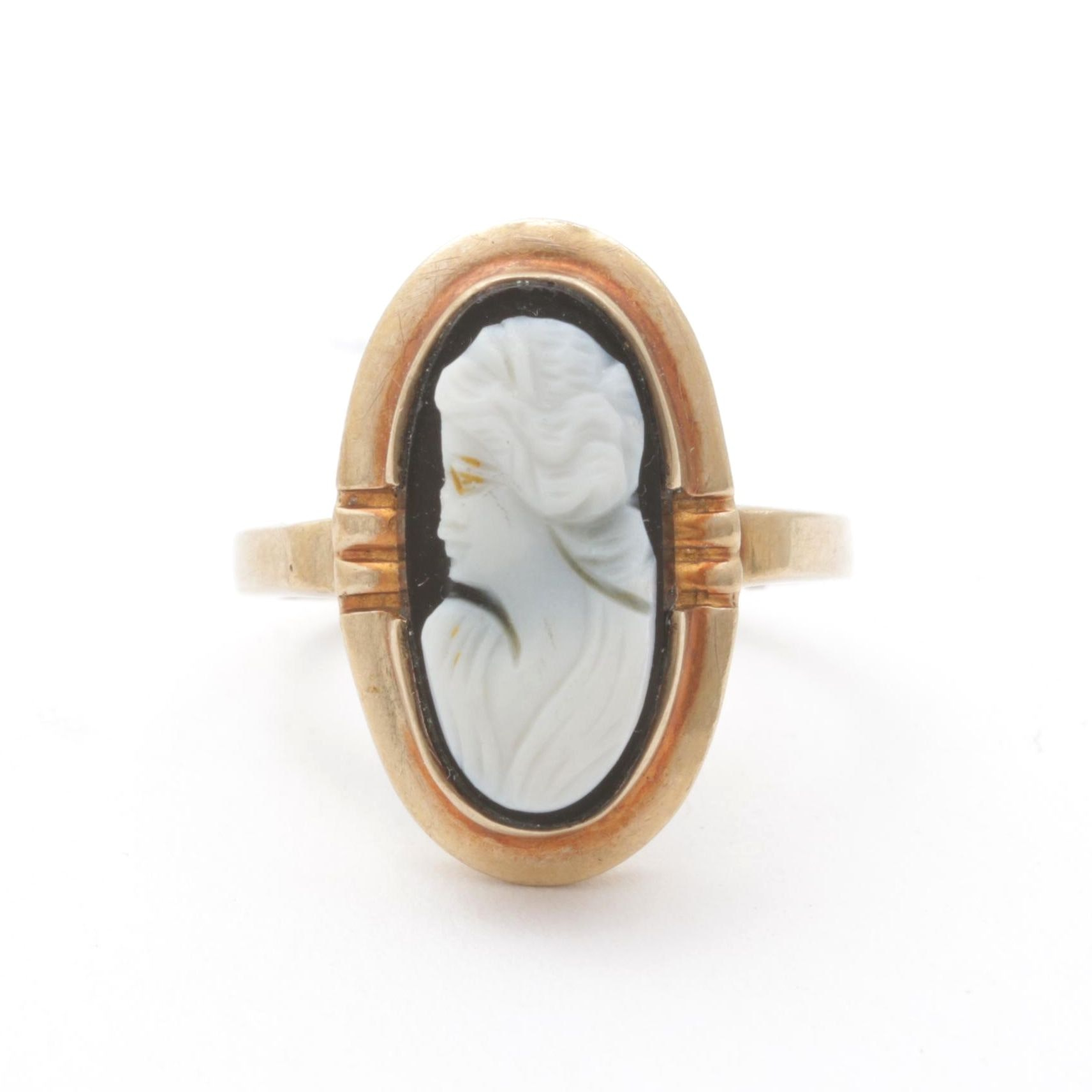10K Yellow Gold Onyx Cameo Ring