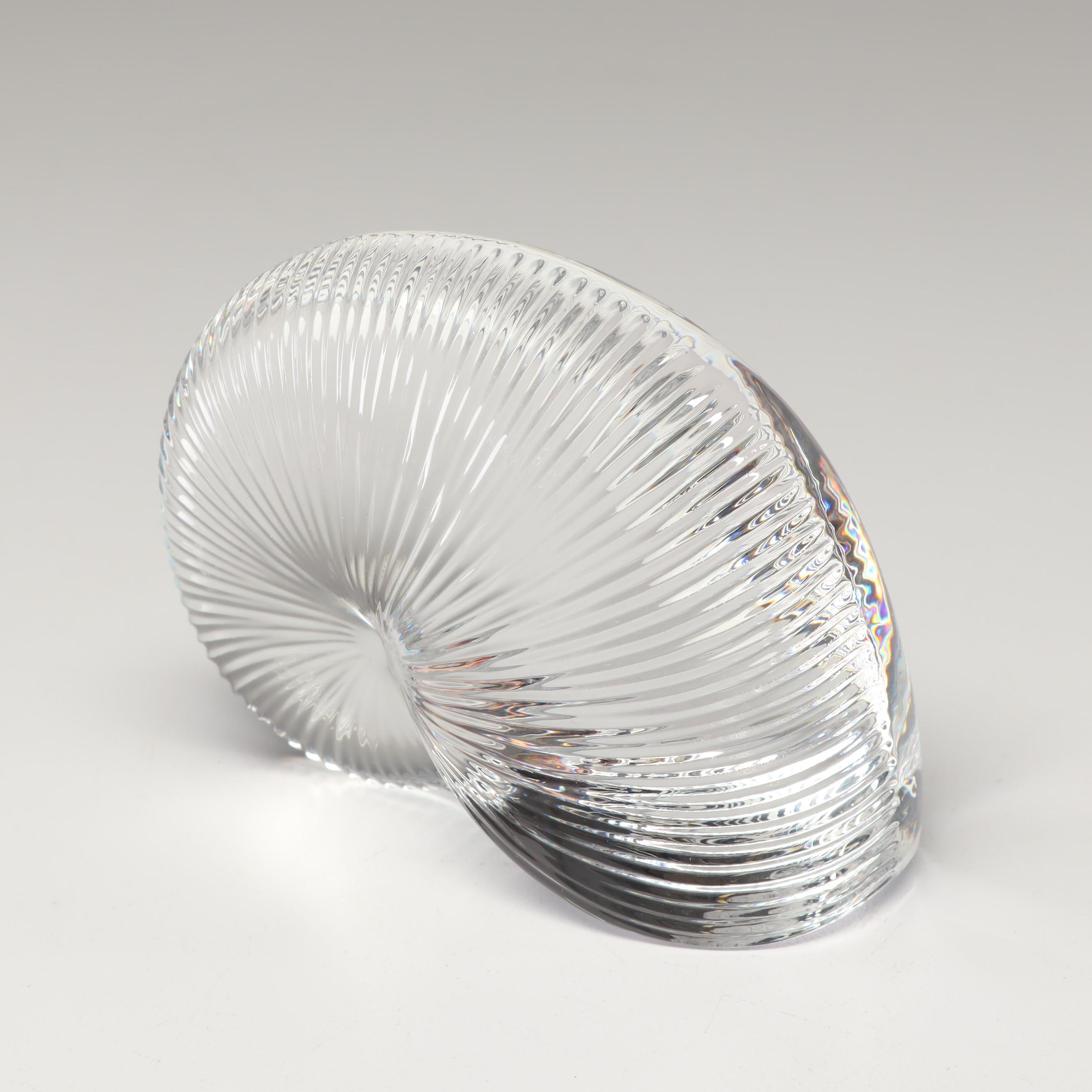 Baccarat Crystal Nautilus Shell Paperweight