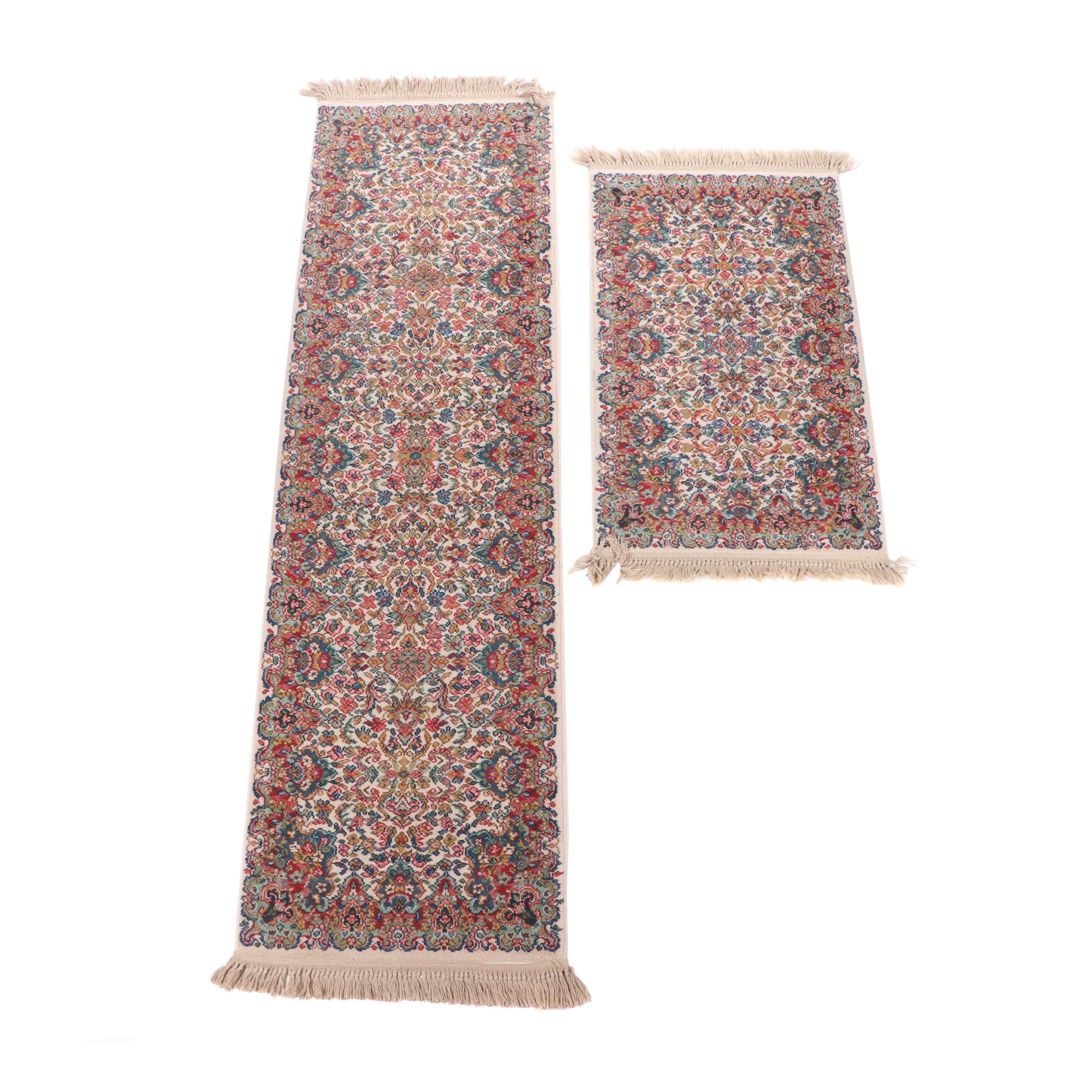 "Karastan ""Floral Kirman"" Wool Pile Carpet Runner and Accent Rug"