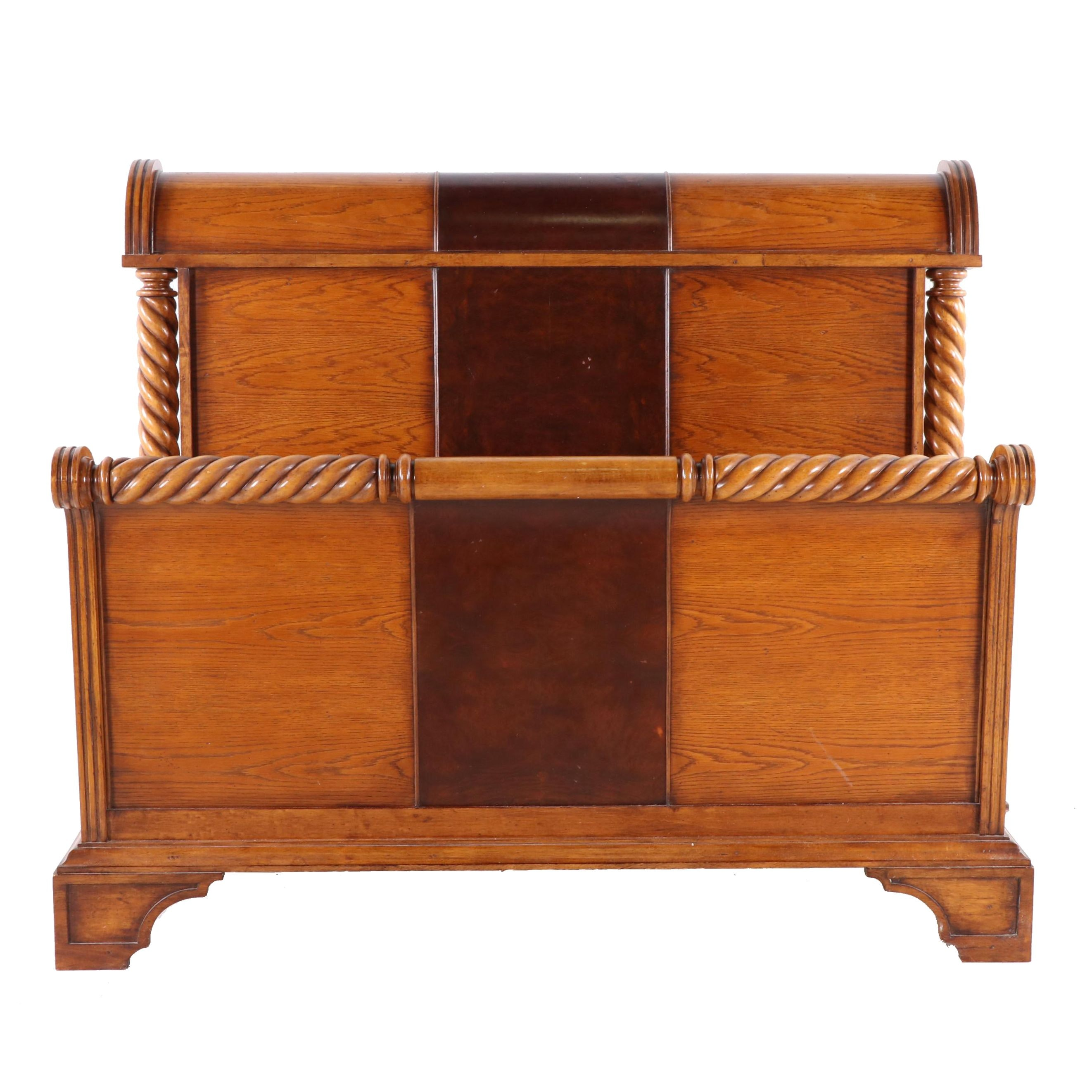 Oak Queen Size Sled Bed, Late 20th Century