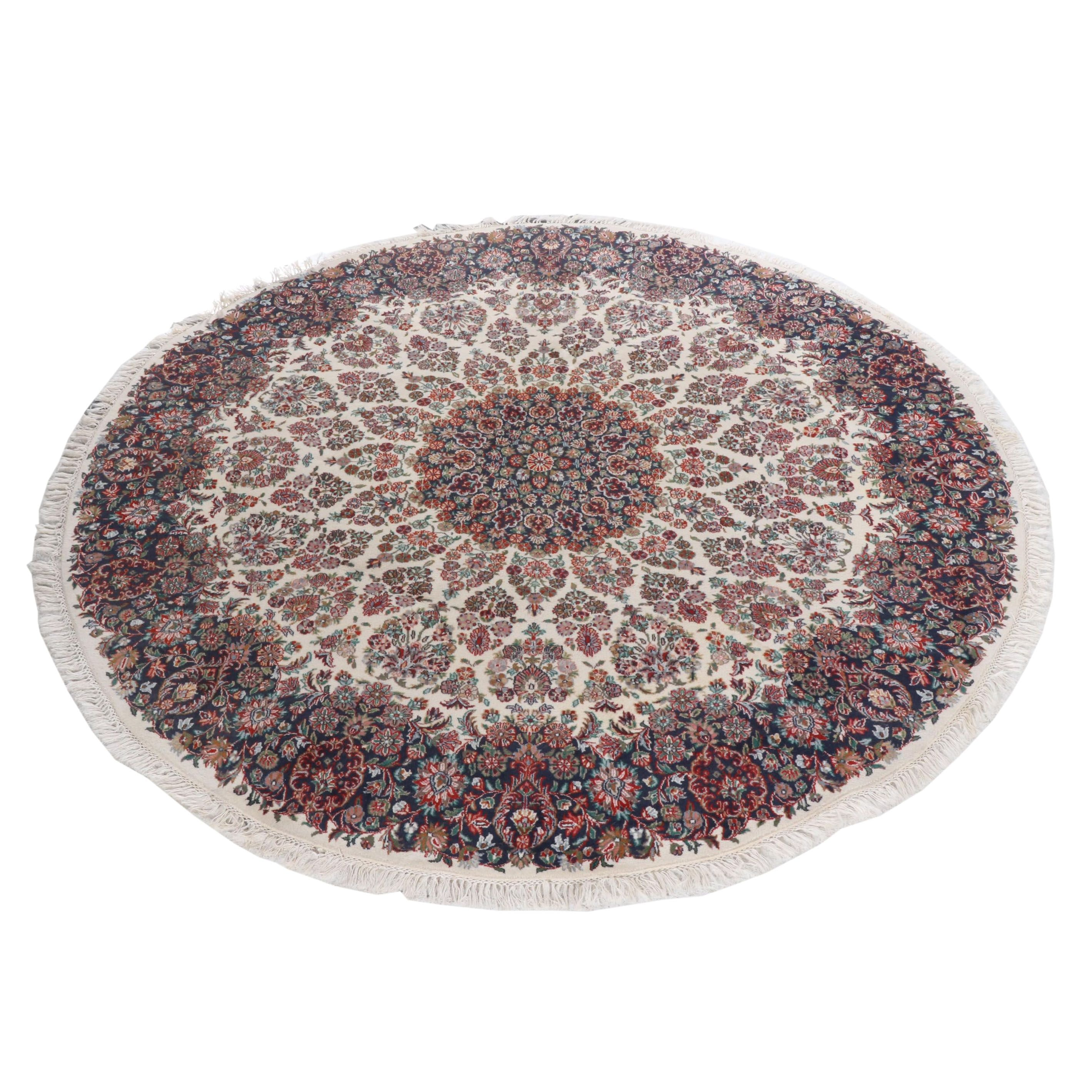 Hand-Knotted Indo-Persian Kerman Wool Round Rug