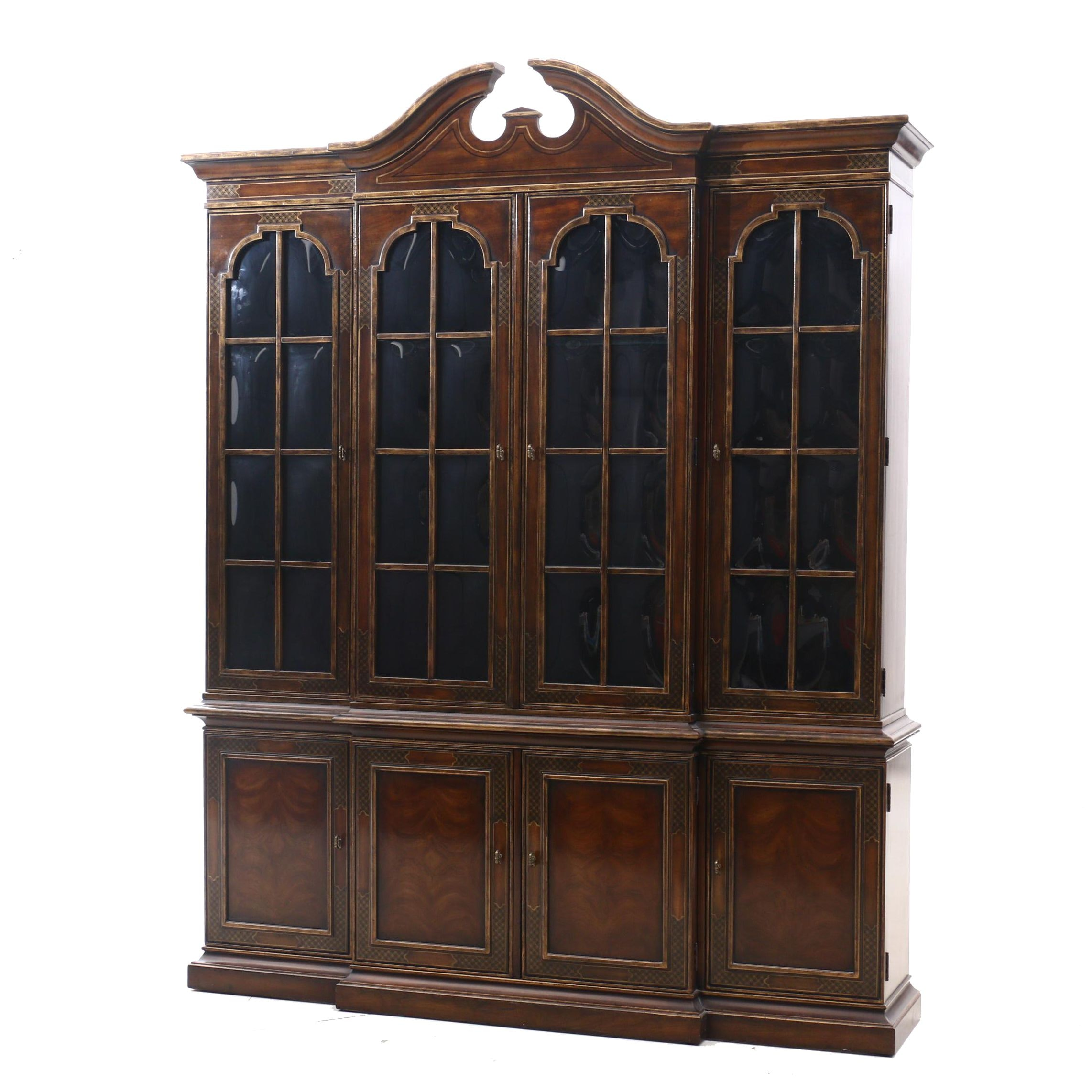 Drexel George III Style Mahogany China Cabinet with Asian Accents, Contemporary