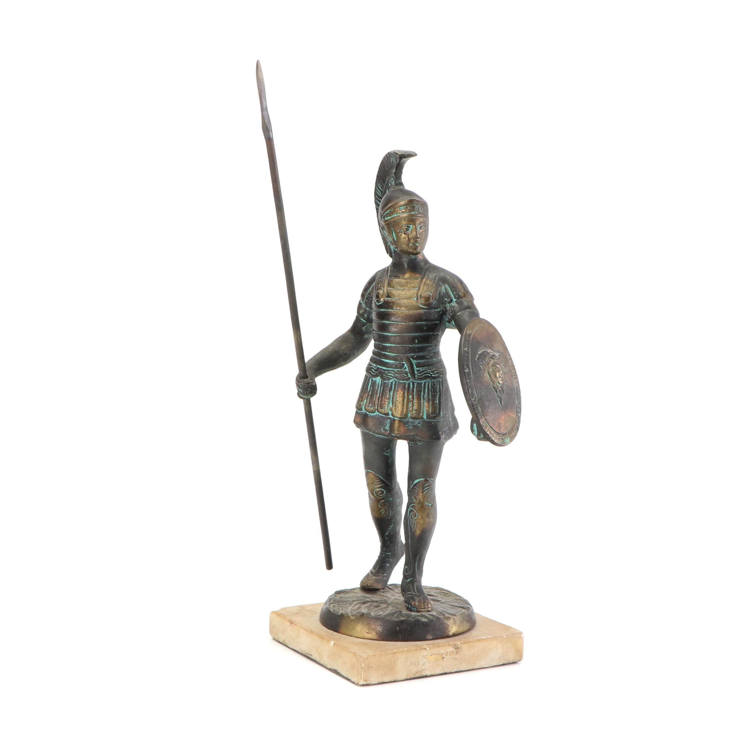 Trojan Soldier Brass Statue on Marble Display