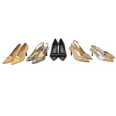2a1d25a704a Stuart Weitzman Pumps and Slingbacks in Leather, Fabric, and Python Print