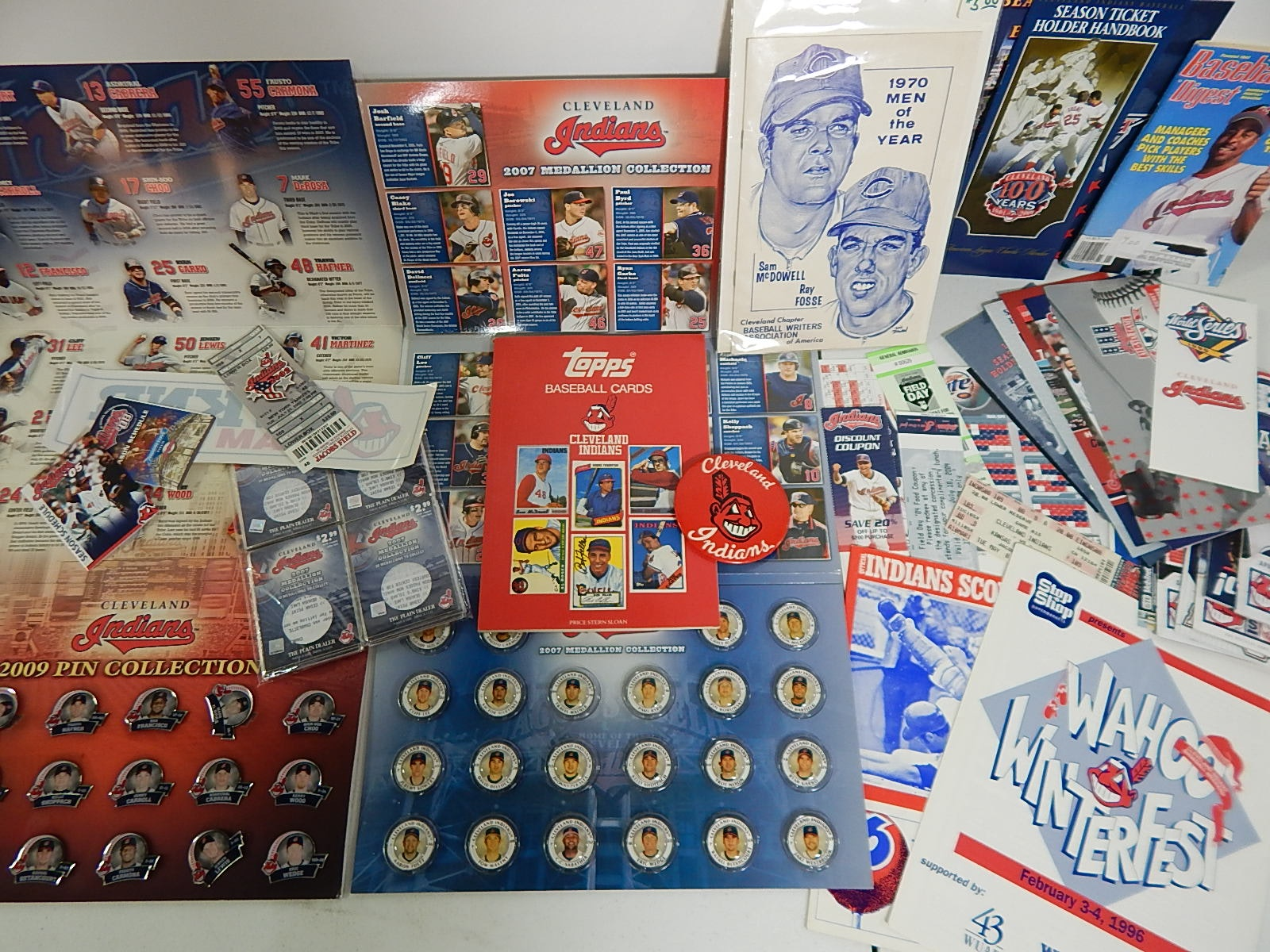 Cleveland Indians Collectibles with 1970 Score Card, Pin Set, Medallion Set,More