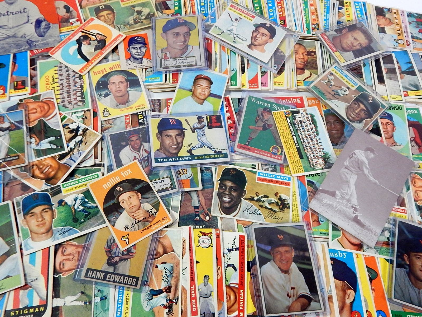 Large 1950s thru 1961 Baseball Card Lot with 1955 Topps Ted Williams - Over 300