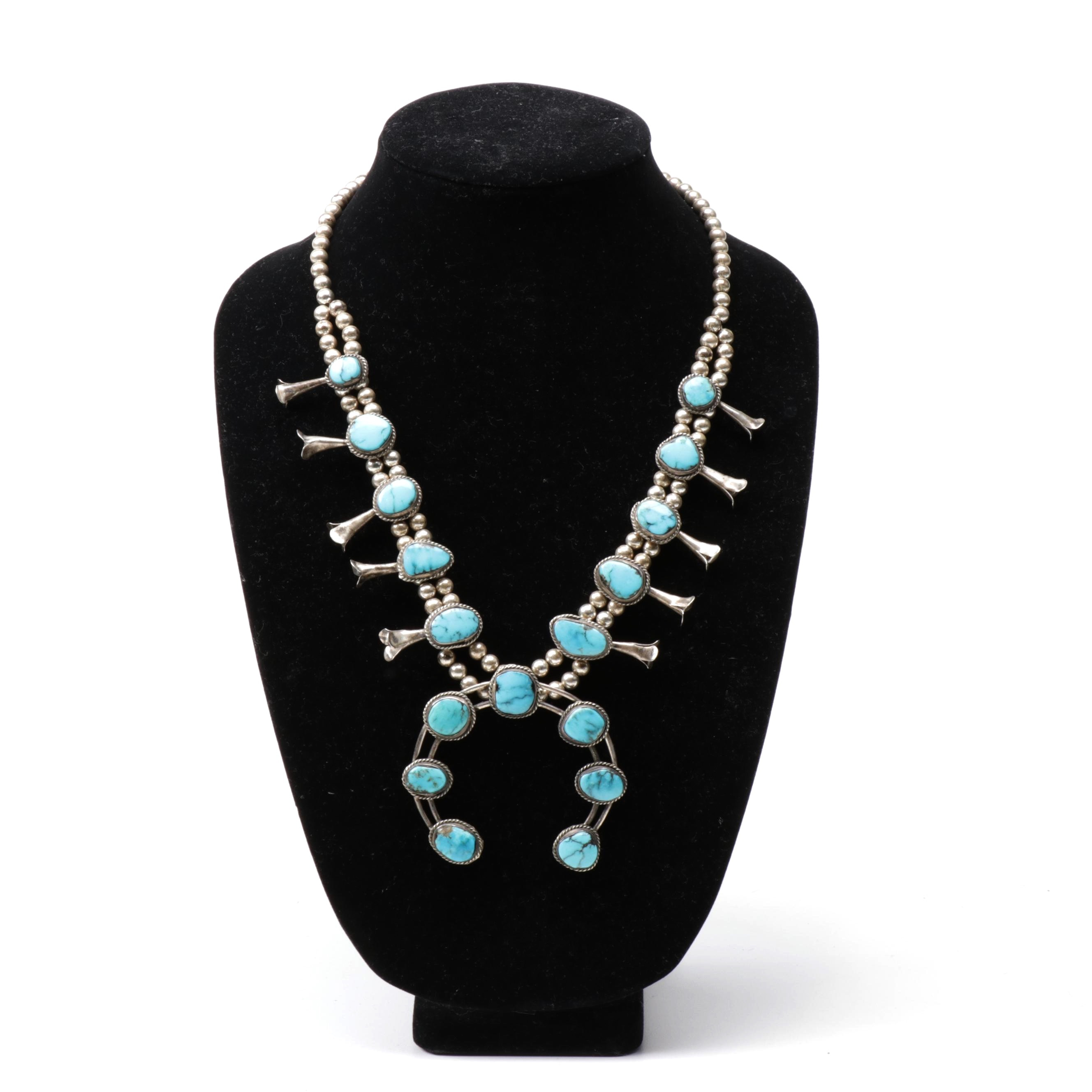Sterling Silver and Turquoise Southwest Style Squash Blossom Necklace