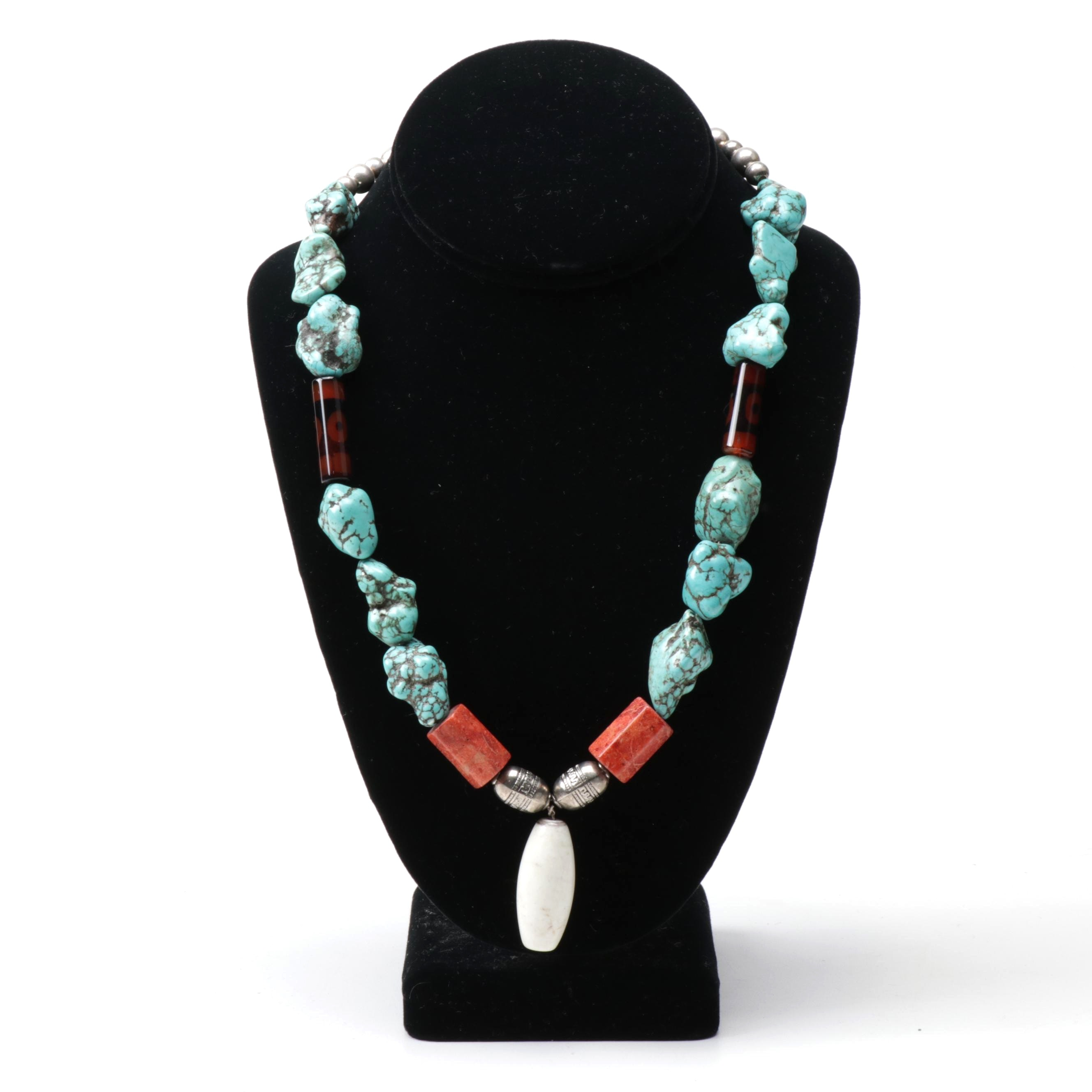 Turquoise, Coral, Howlite, and Glass Southwest Style Necklace