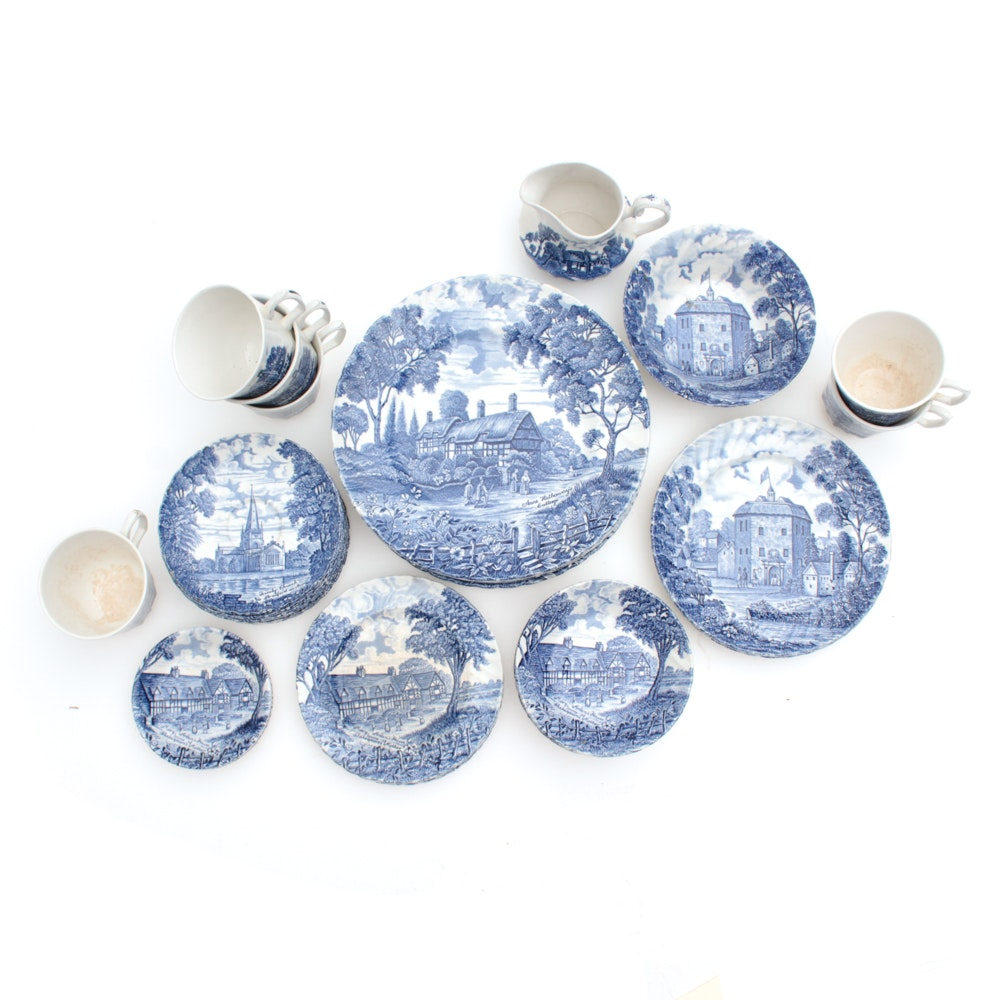 Blue and White Ironstone Tableware