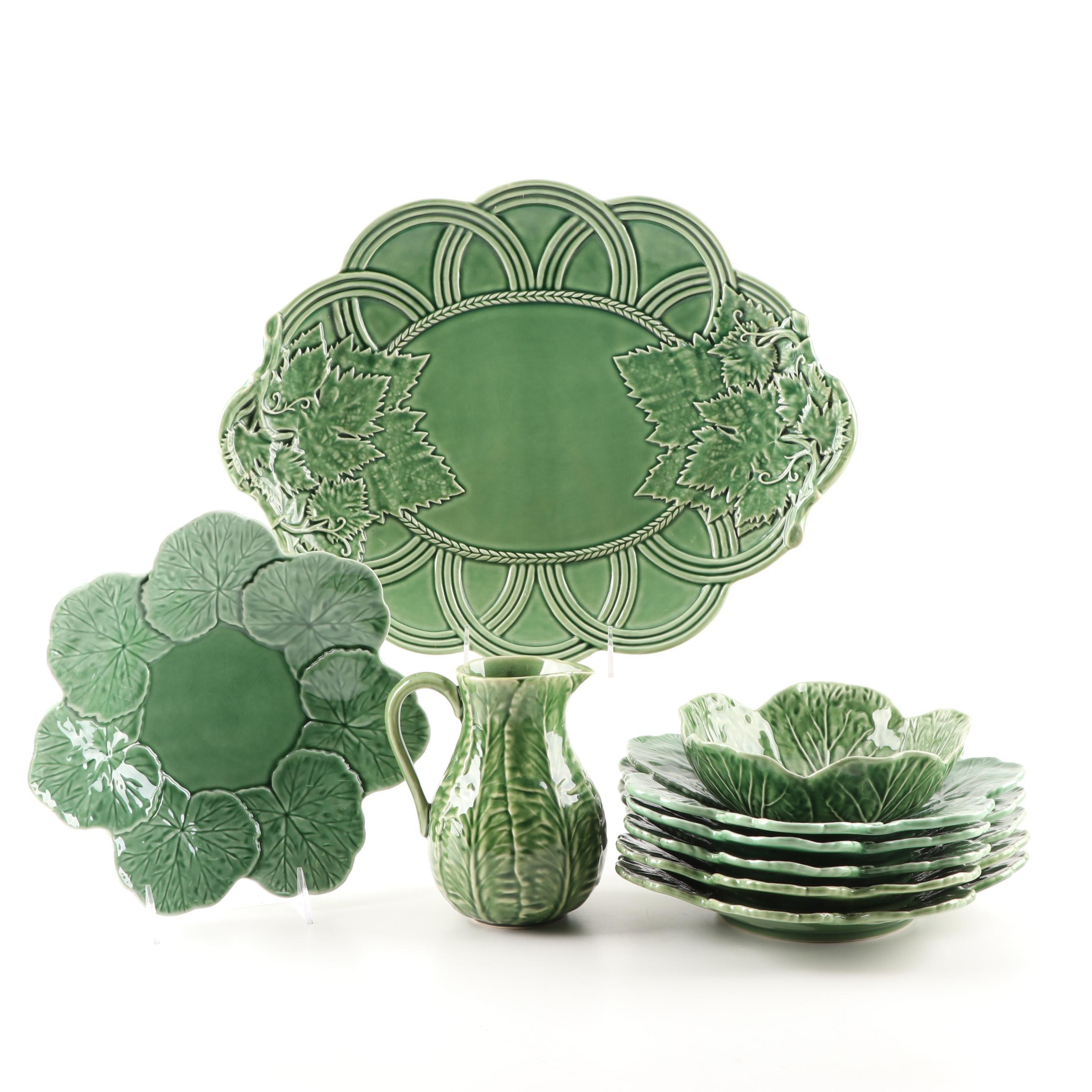 Bordallo Pinheiro Ceramic Leaf Platter, Plates, Bowl and Pitcher