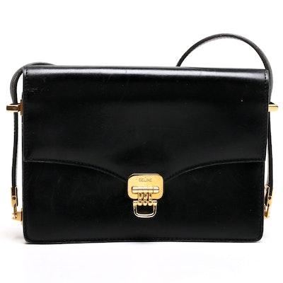 Céline Black Leather Flap Front Shoulder Bag with Adjustable Strap, Vintage