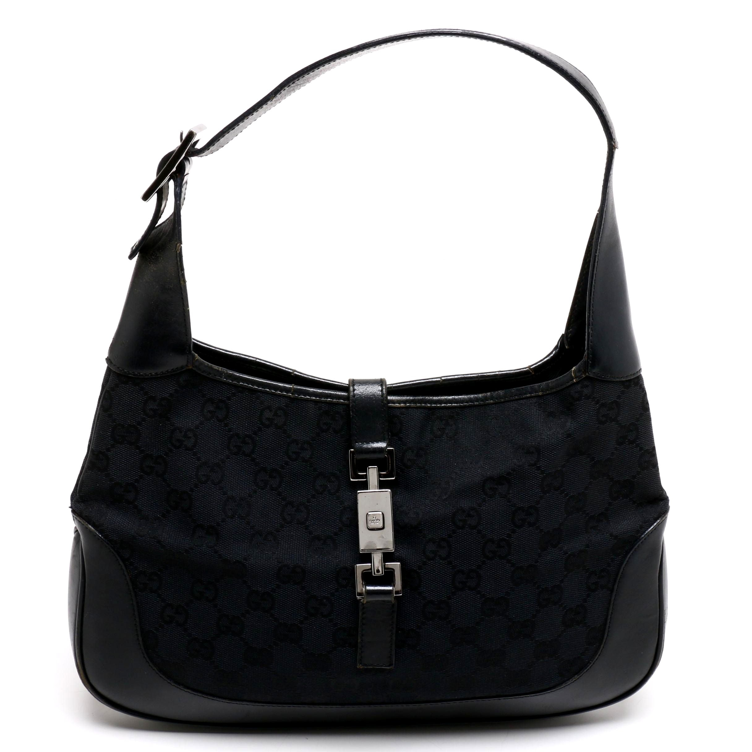 Gucci Black GG Canvas and Leather Jackie Bag