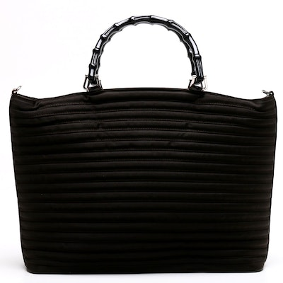 b072949b936d Gucci Dark Brown Nylon Bamboo Handle Tote Trimmed in Leather