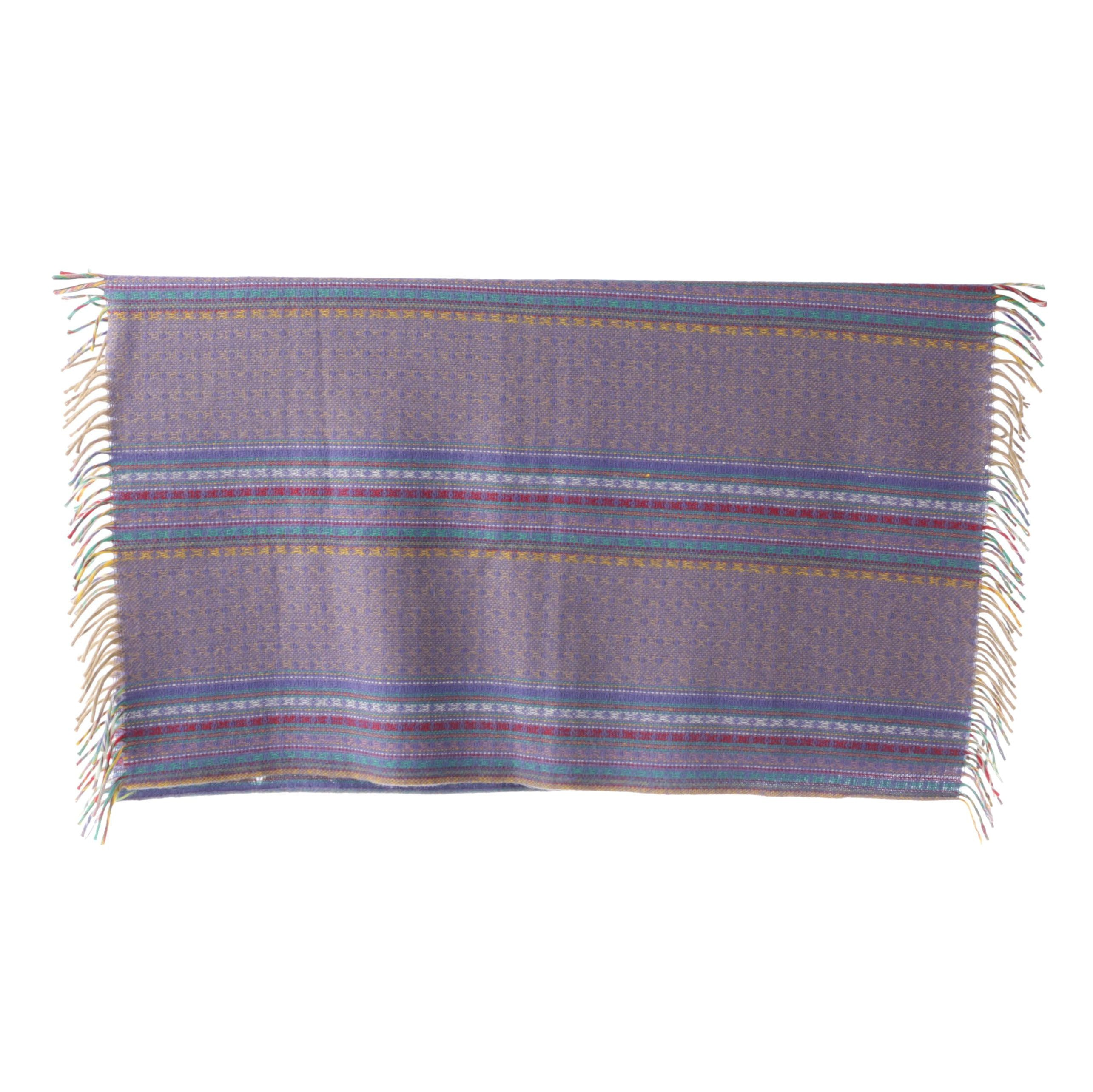 Woven Multicolored Wool Striped Pattern Fringed Throw