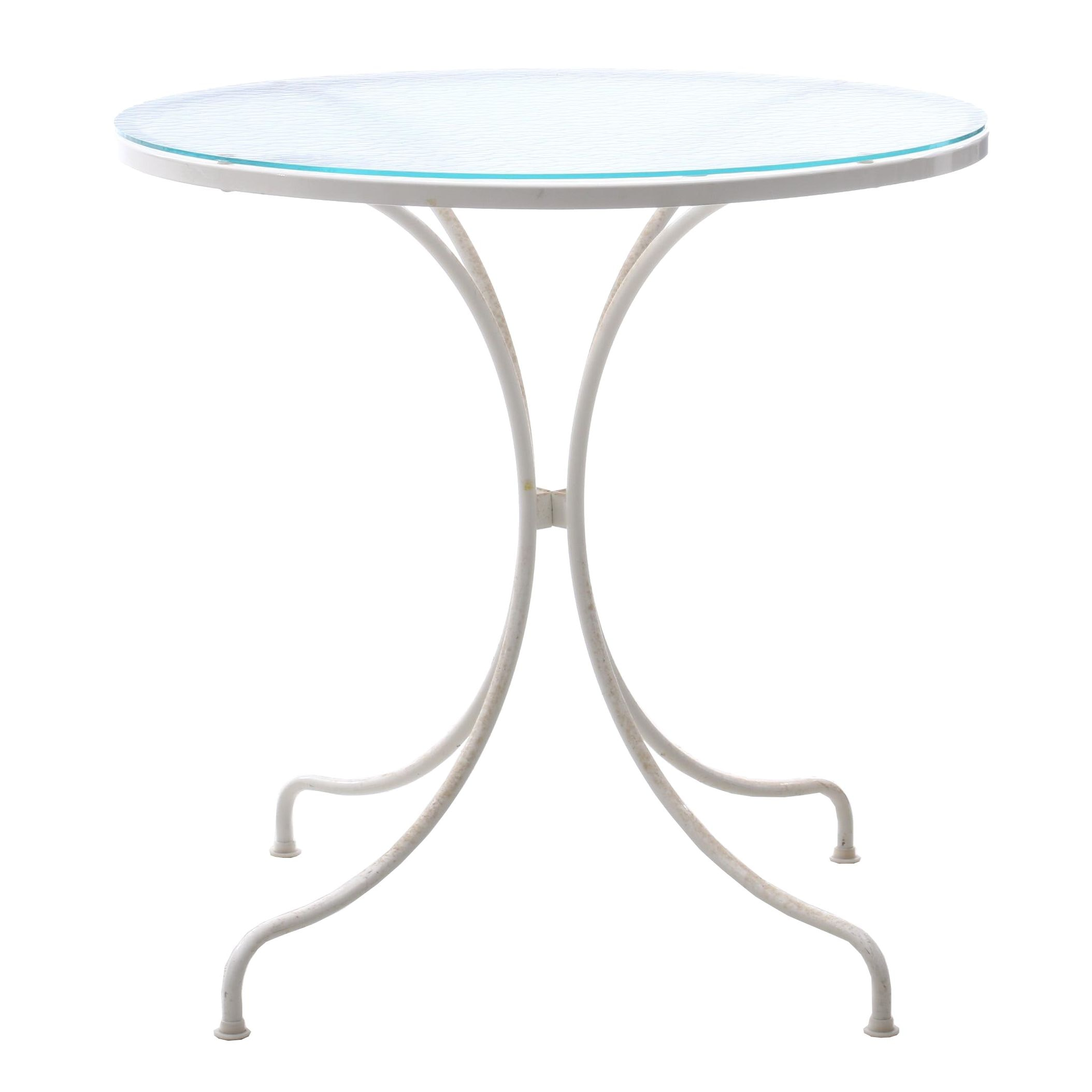 Contemporary Glass Top Metal Frame Patio Dinette Table in White