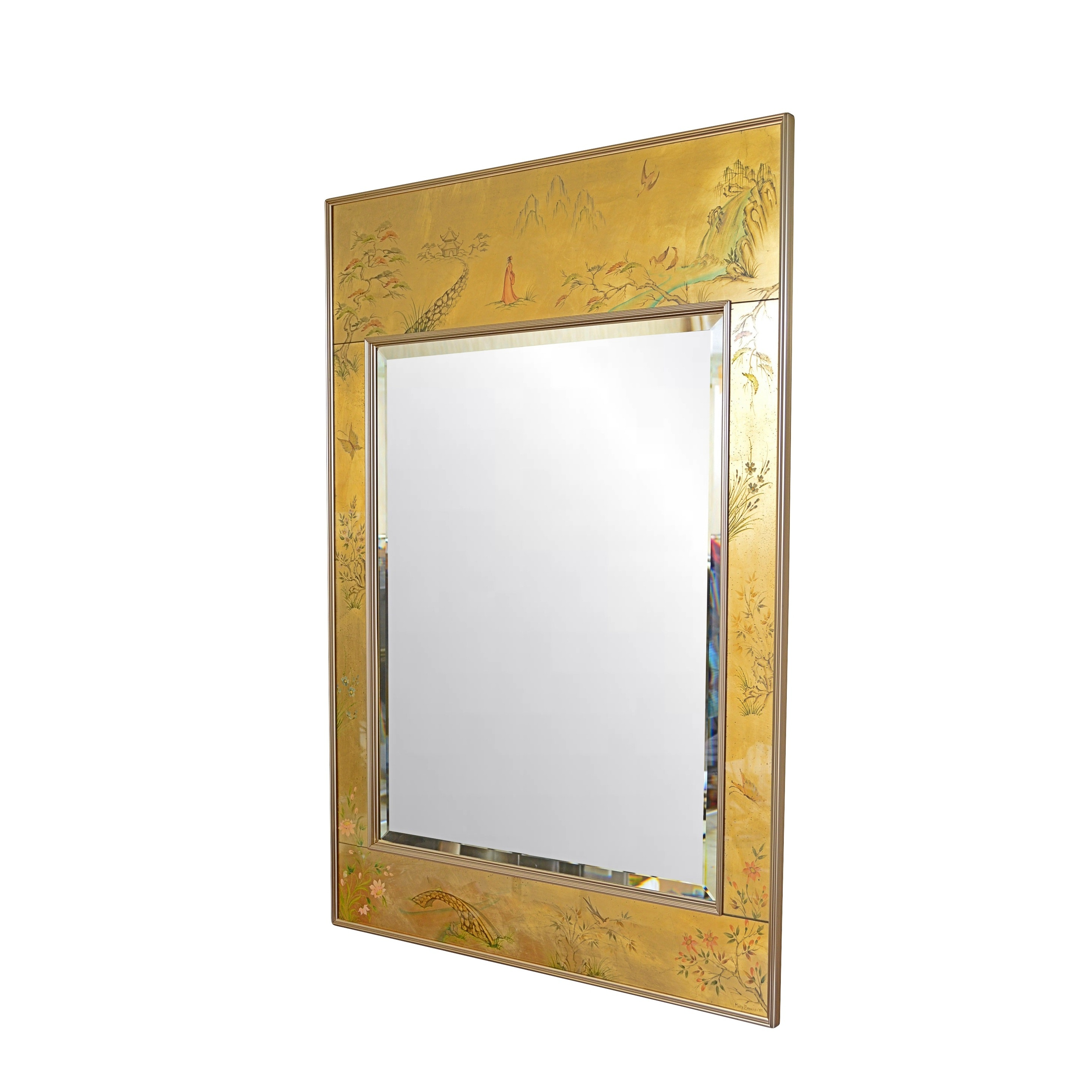 Chinoiserie Beveled Wall Mirror with Lacquered Frame