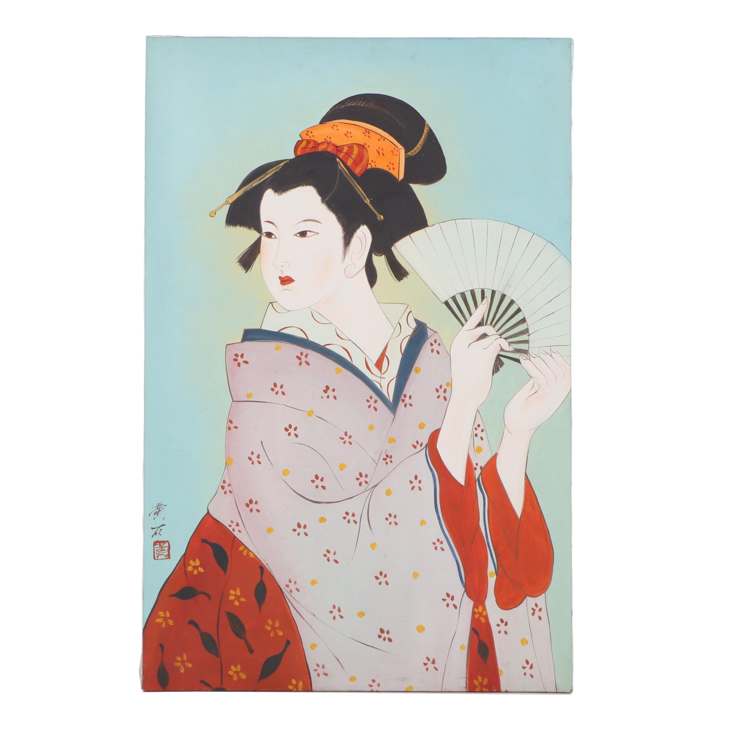 Chinese Oil Painting of a Woman with a Fan