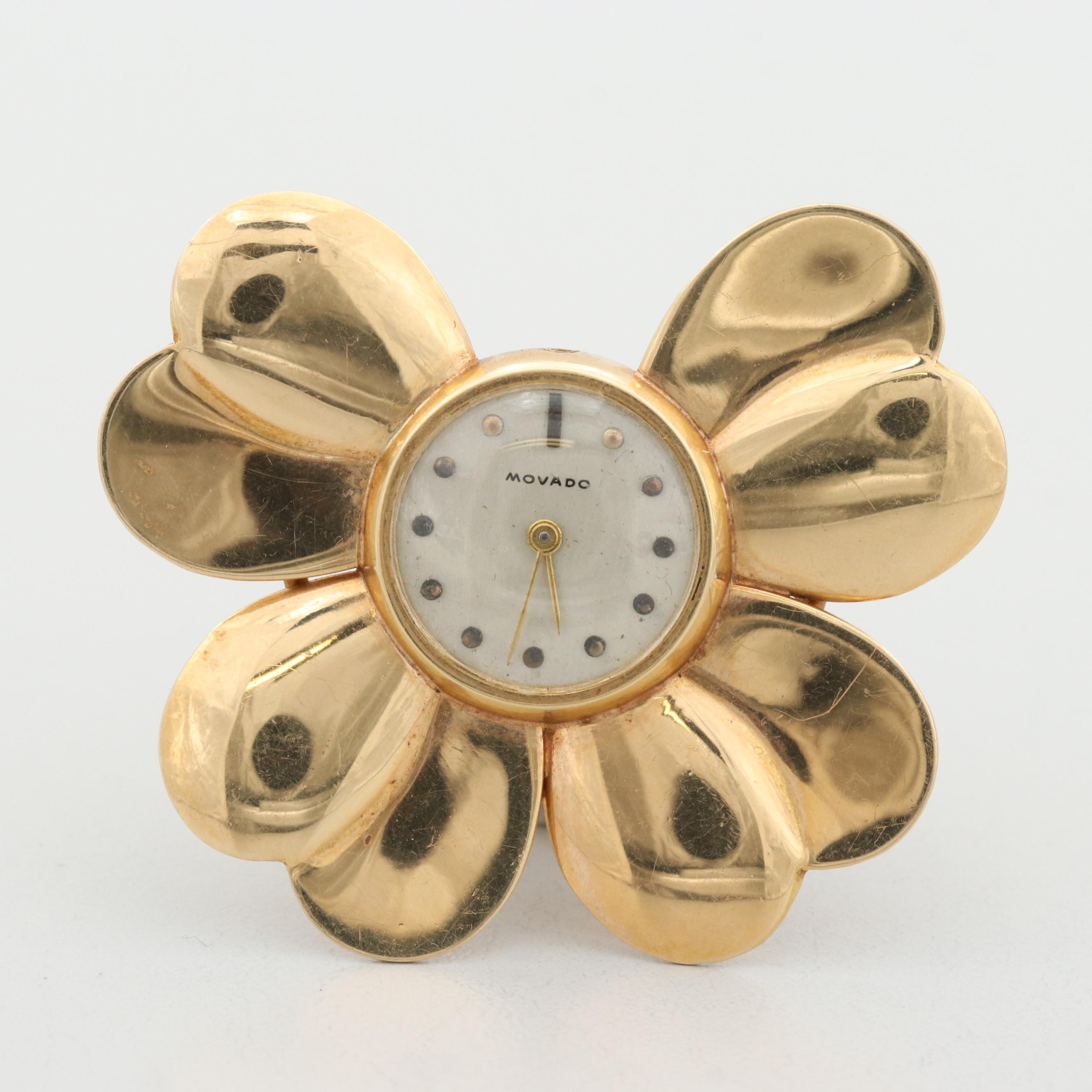 Movado 14K Yellow Gold Floral Brooch Watch