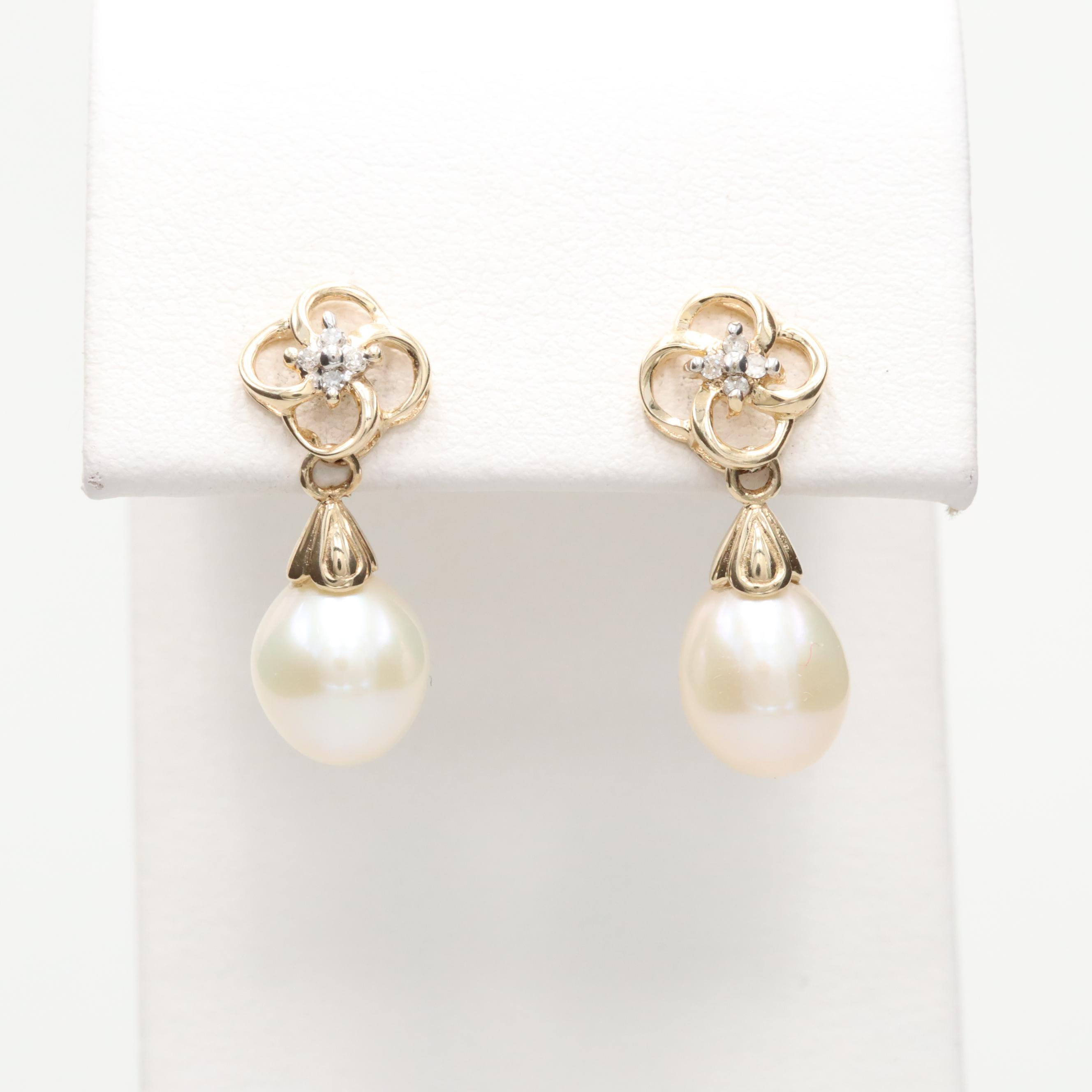Alwand Vahan 10K and 14K Yellow Gold Cultured Pearl and Diamond Earrings